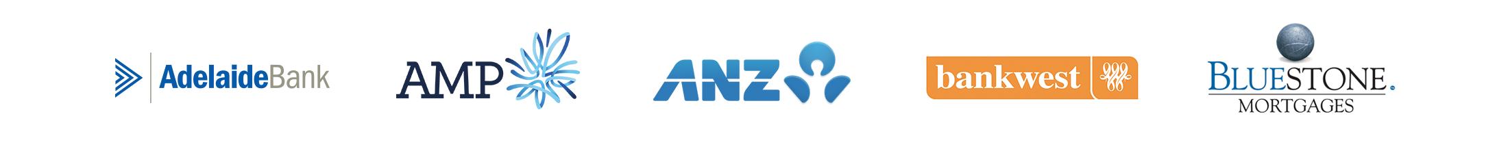 Adelaide Bank, AMP, ANZ, Bankwest, Bluestone Mortgages