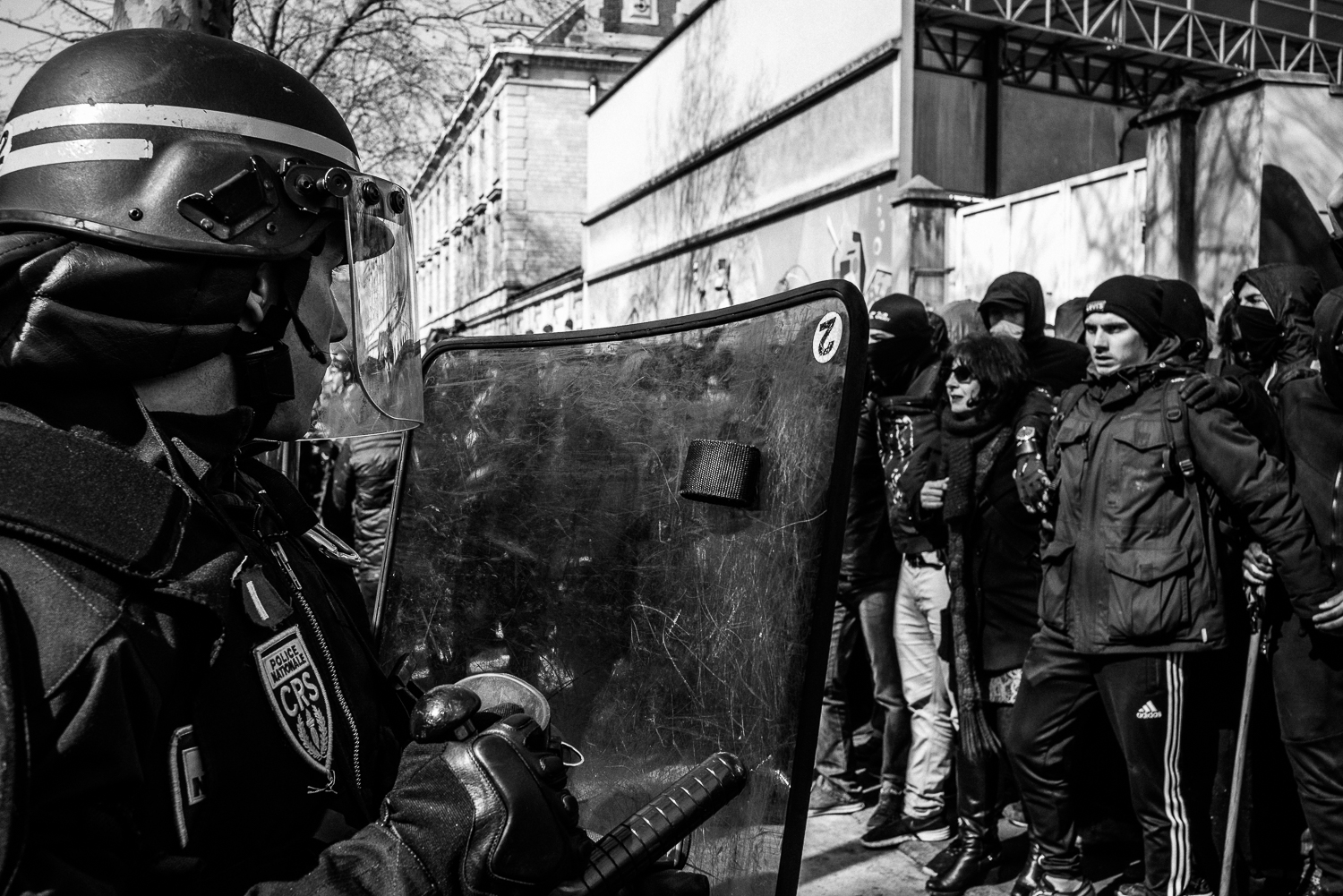 Riot police officers confronting the protestors, 5th April 2016.