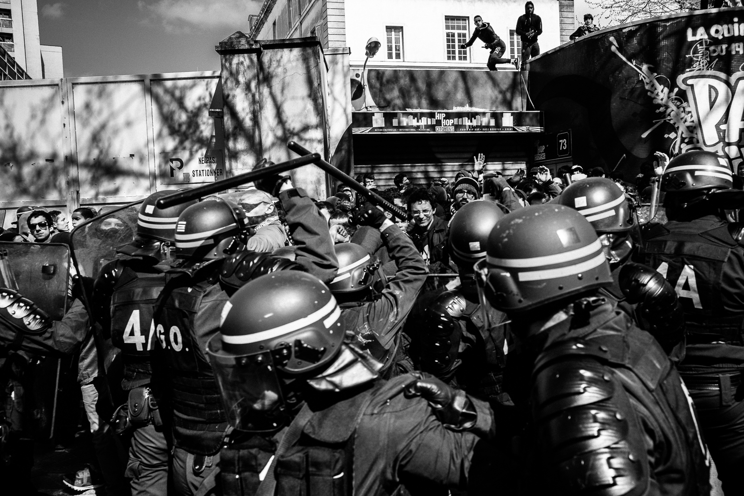 Riot police cordoned off a group of protestors against a wall. More than 100 were arrested on that day.5th April 2016.
