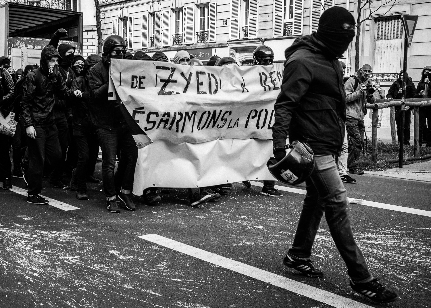 A single protestor leading the charge back in retaliation to the brutal tactics adopted by the riot police,5th April 2016.