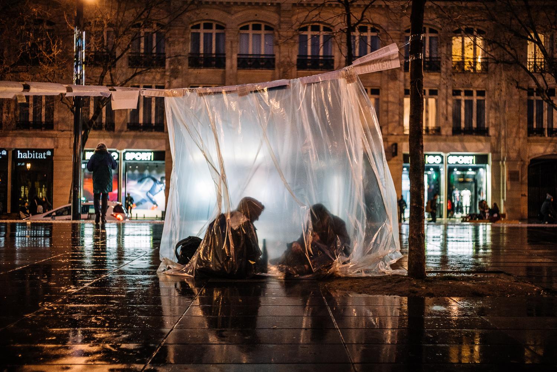 Protestors occupying Place de la Republique square at Nuit Debout,3rd April 2016.