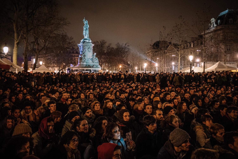 Protestors at Nuit Debout,3rd April 2016.