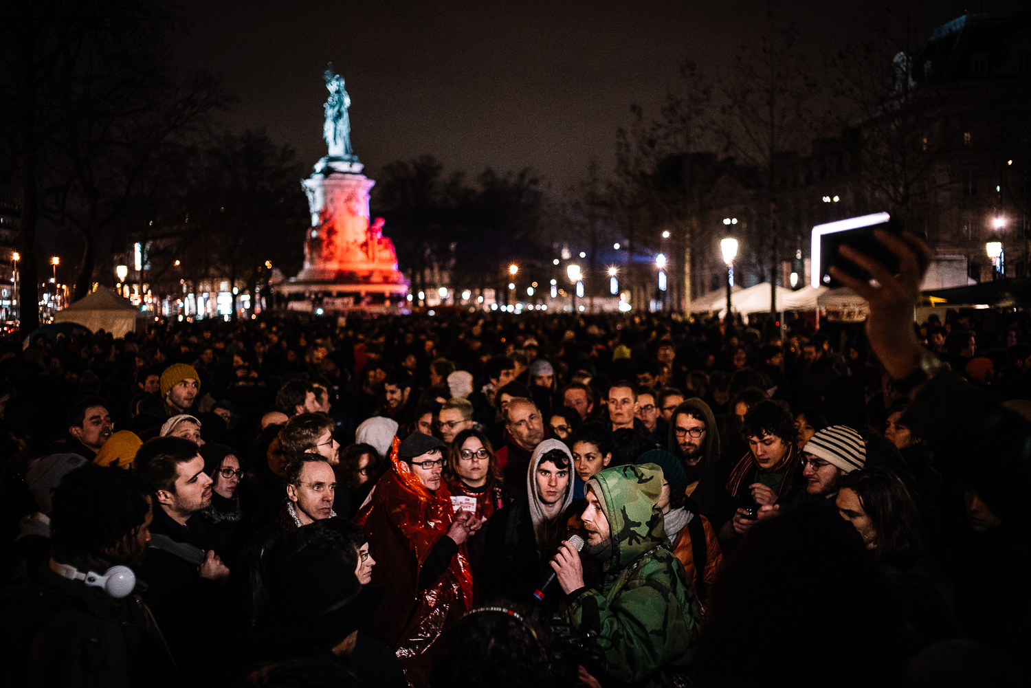 Anyone is allowed to voice out their opinions and suggestions infront a crowd of thousands at Nuit Debout, 3rd April 2016.