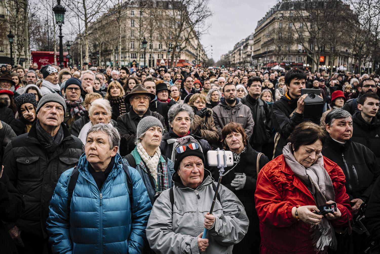 Commemorative Ceremony for Paris Attack Victims. Place de la République, Paris, 2016