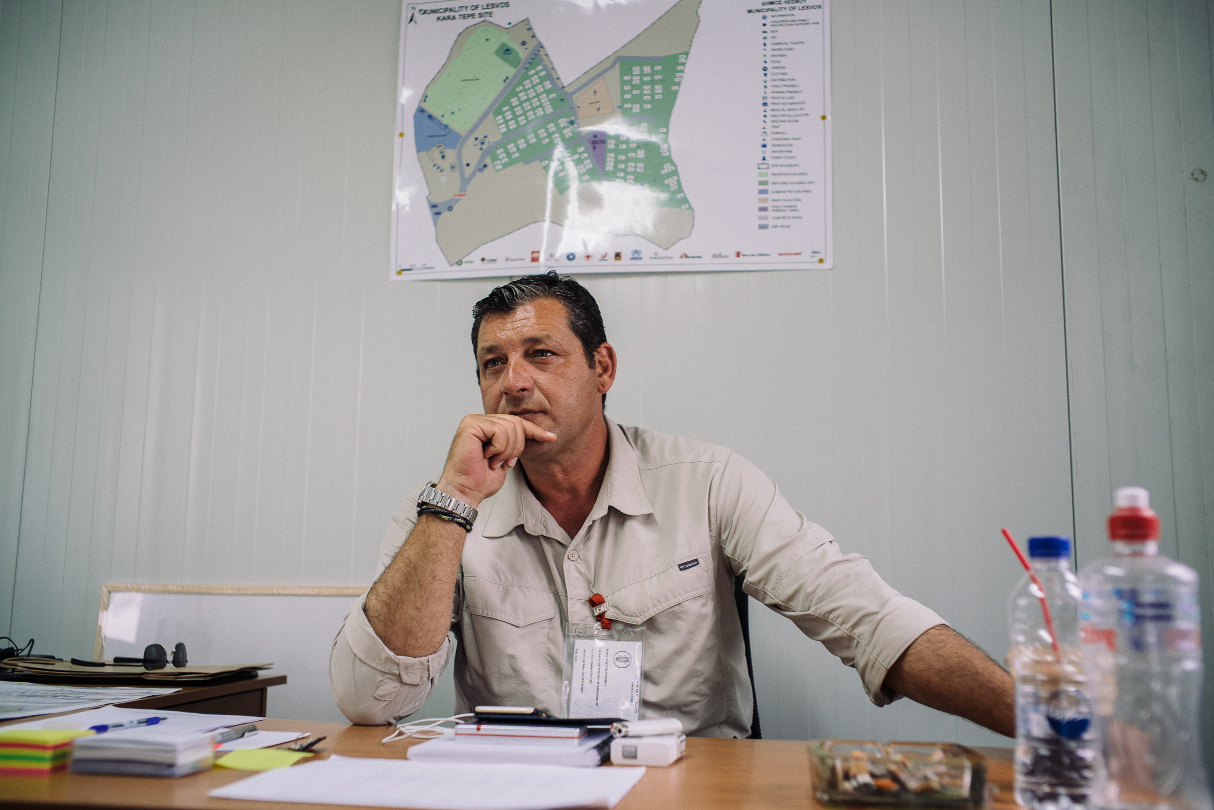 """""""Some people call them refugees or migrants but when they are here in this camp, they are my people. It is like an open village here,"""" said Mr Stravos, the camp manager for Kara Tepe camp, in describing his attitude towards the crisis."""