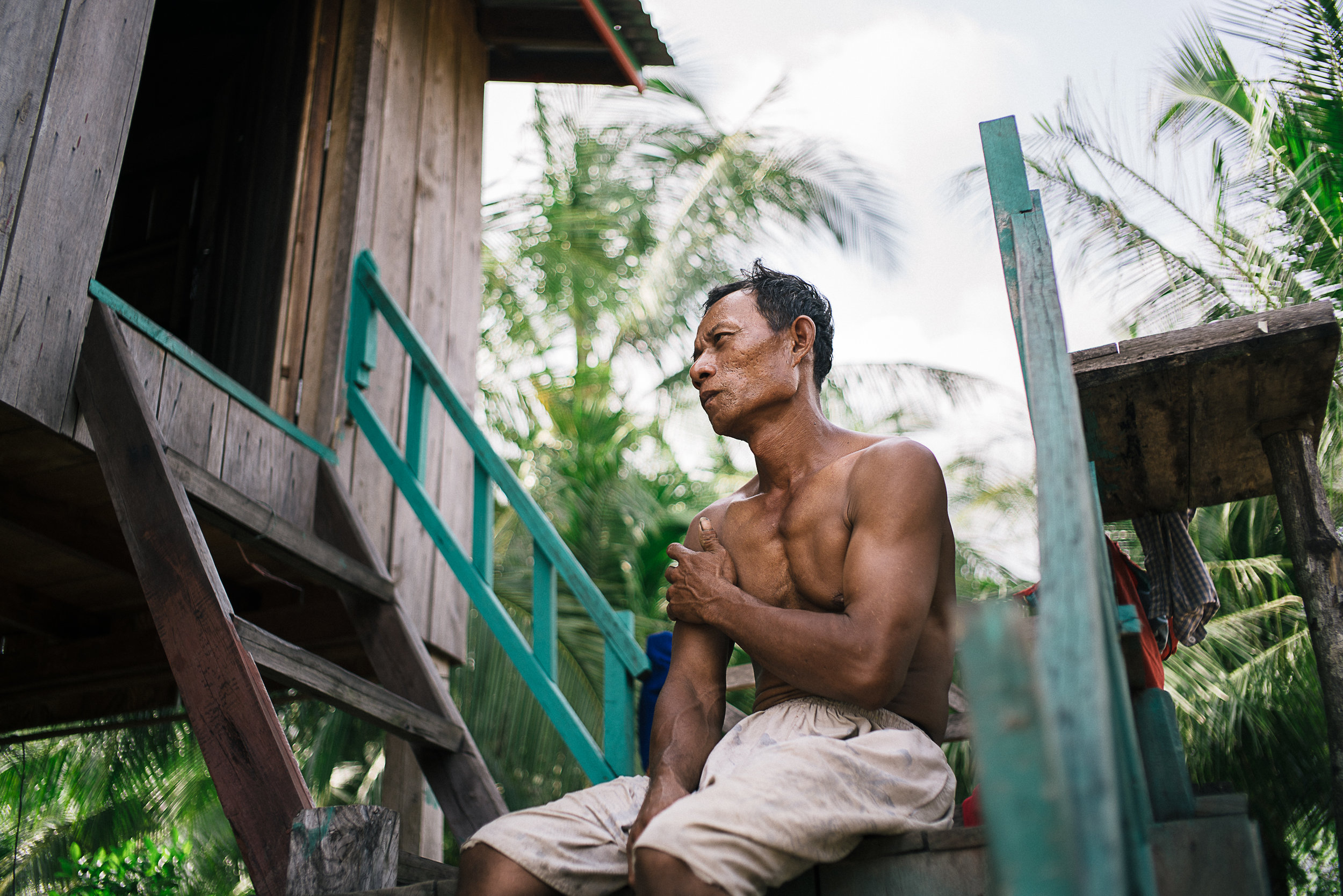 Even when Meak Sok, 45, was successful at times chasing away the big ships, it was still not enough as the trail of oil pollution left behind in the water quickly took a toll on the local crab population.