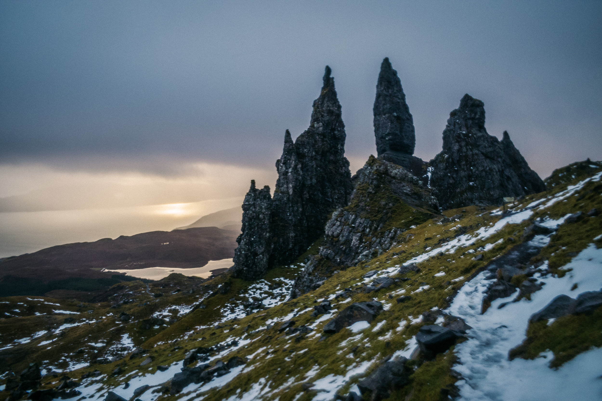 Where we hiked up to watch the sunrise over Old Man of Storr ..