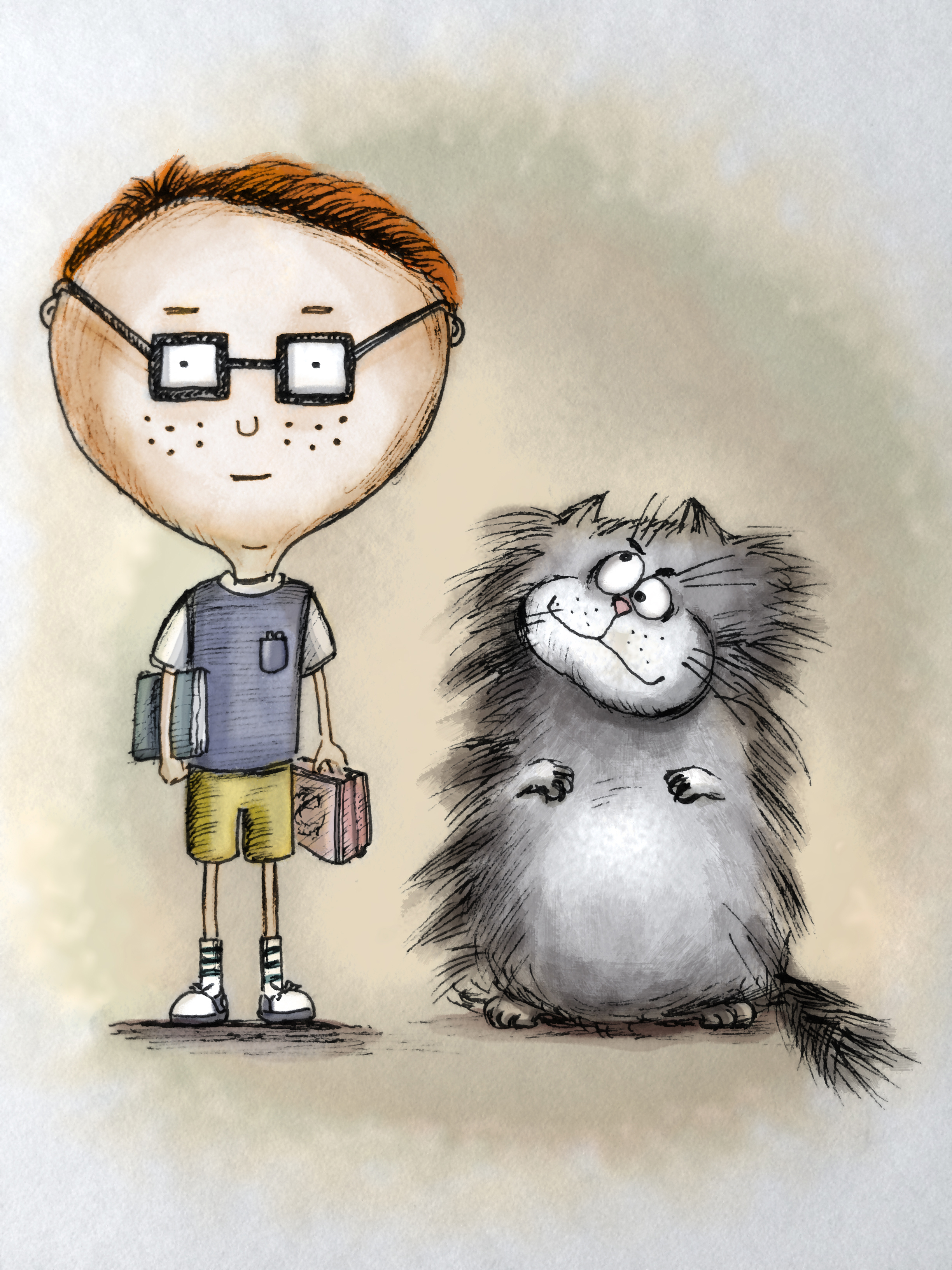 The boy and his mischievous cat.