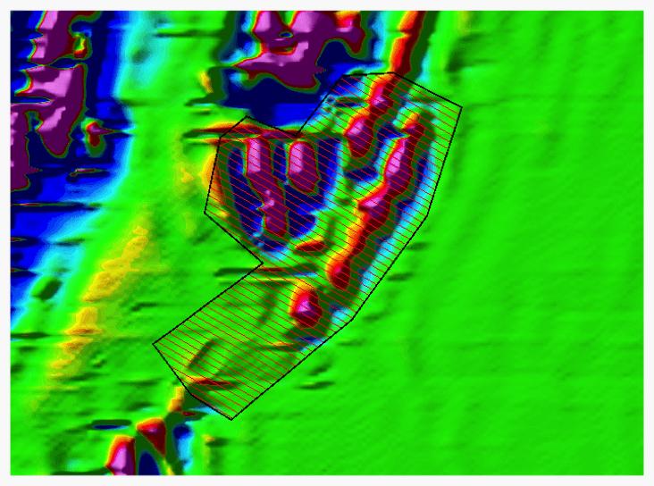 Survey Design – example of ground magnetics survey line plan over an iron ore deposit.