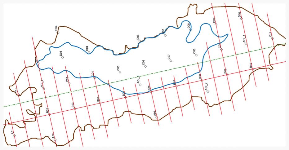 Survey Design – example of gravity survey line plan over a basin target.