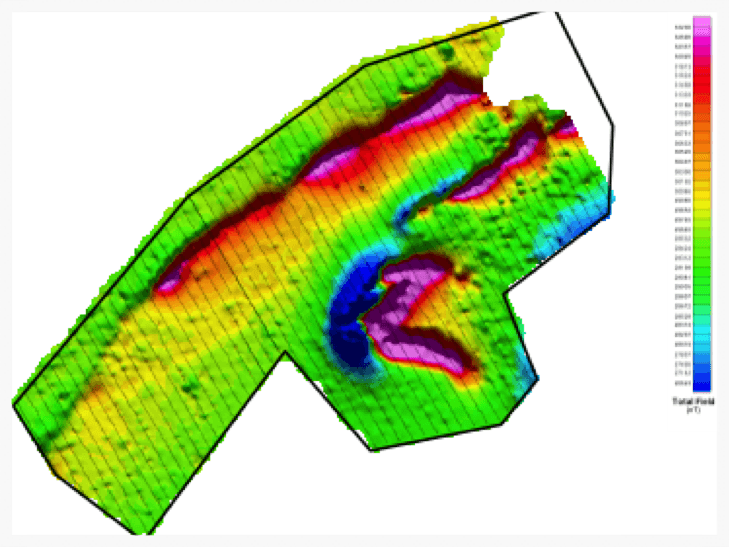 Ground magnetics results, total field data.