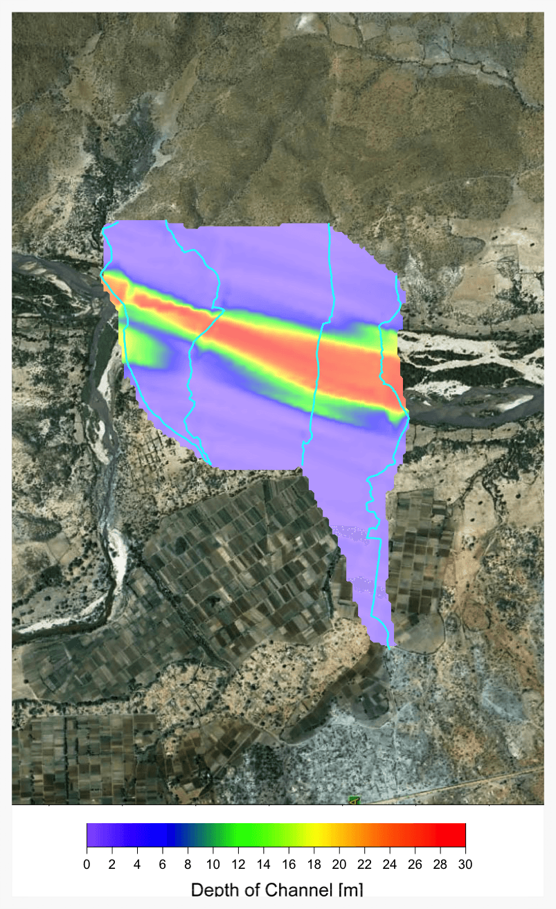 GPR results overlaid on a satellite image. This gives an indication of the depth profile of the channel in context with the surroundings.