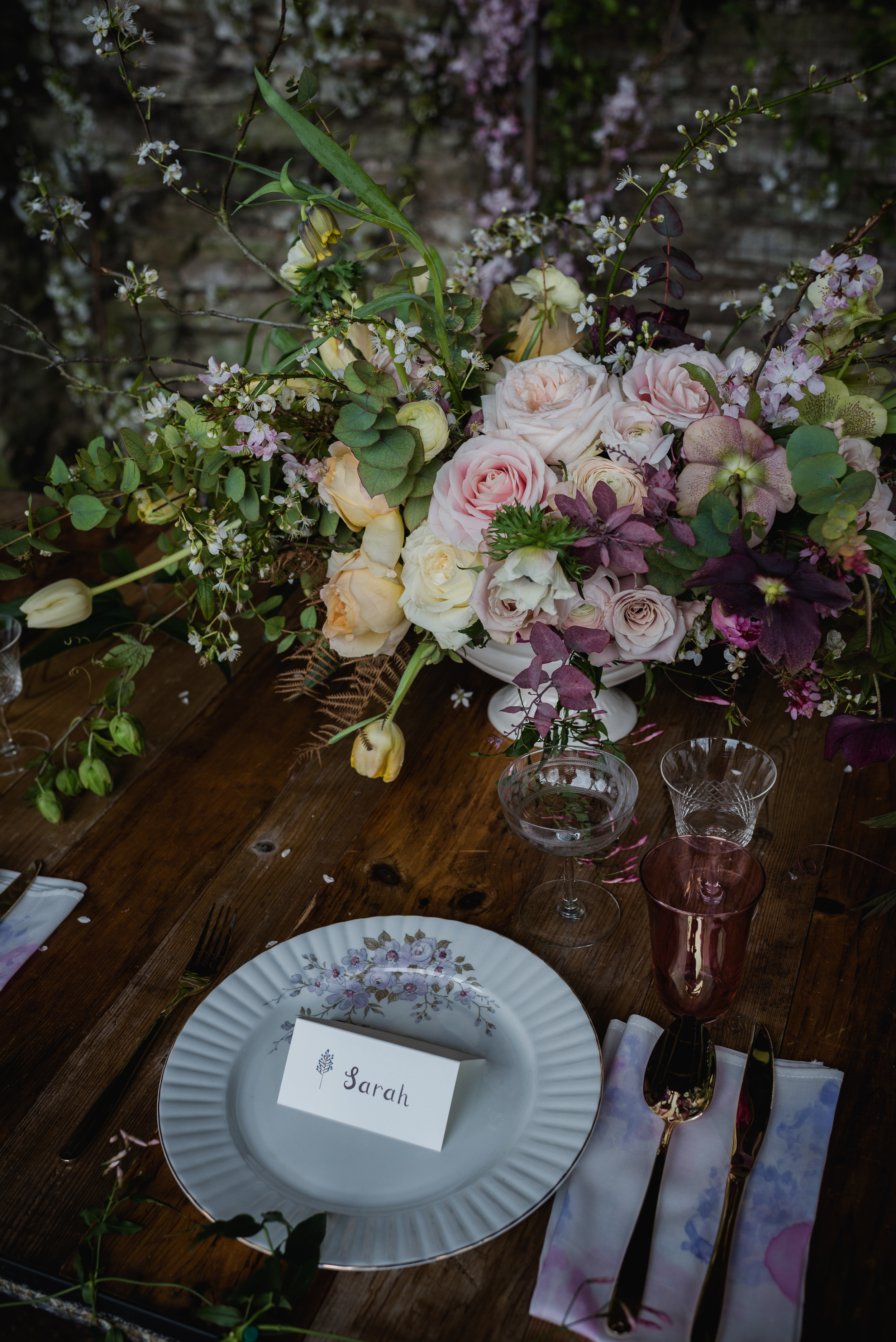 Flora & Fauna Place Setting,  Table styling by  Kate Cullen , Flowers from  Wild Bunch ,Photography by  Alexa Loy Photography