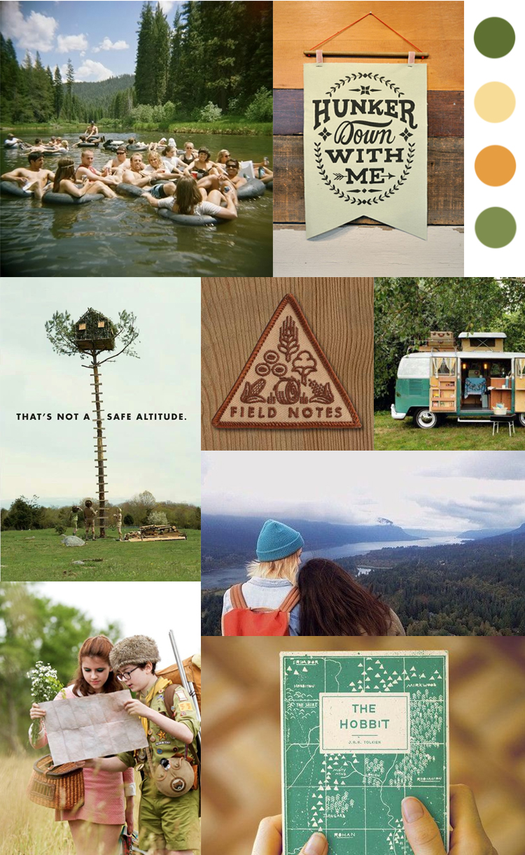 Our moodboard for this Summer Camp themed wedding stationery, image credits on our  Pinterest board