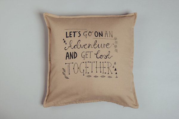 Screenprinted 'Adventure' cushion cover, Emily Dymond