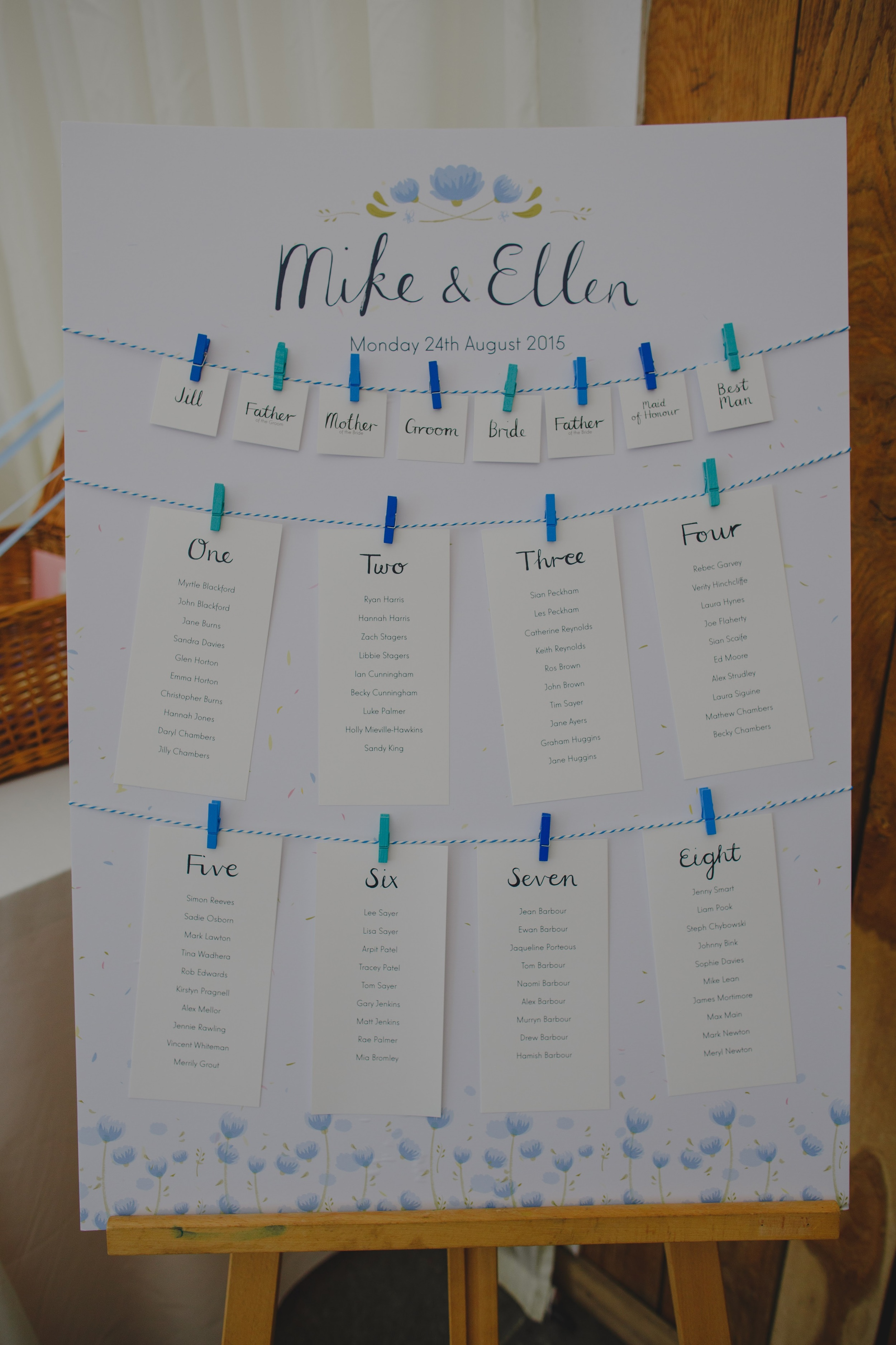 The couple asked us to design a washing line table plan featuring our hand drawn lettering which they assembled with bakers twine and colourful pegs. The great thing about this table plan is that if you have any last minute changes there's no need to reprint the entire thing, we can simply edit the table you need to amend and pop it in the post to you.