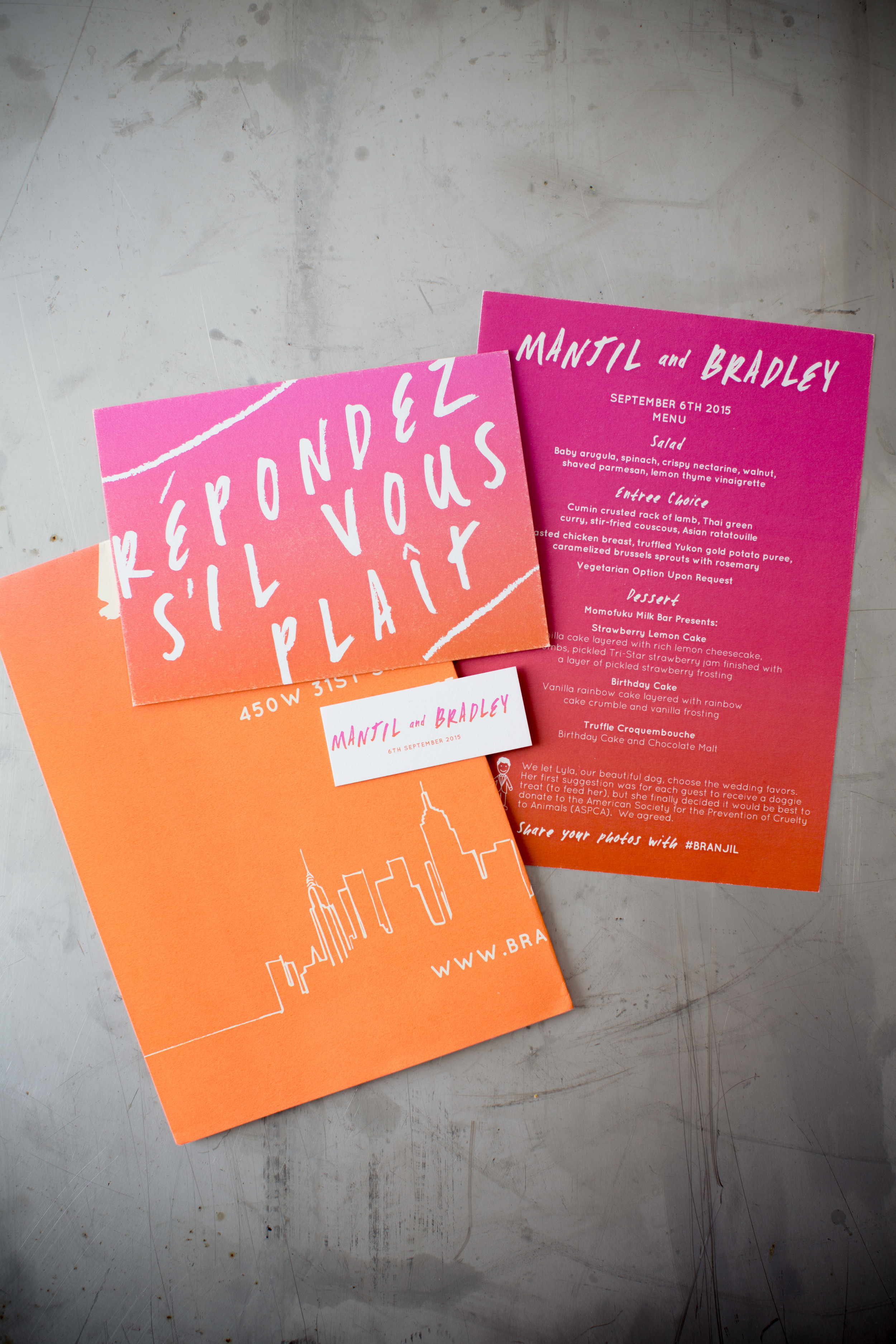 We wanted to give Manjil and Brad edgy designs that suited them as a modern male couple; colour was also hugely important and so  we created a range of items including invitations, RSVPs, menus and signage incorporating a vibrant hot pink to orange ombre.