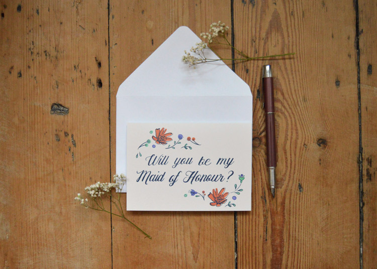 'Will you be my Maid of Honour' card - £2.50