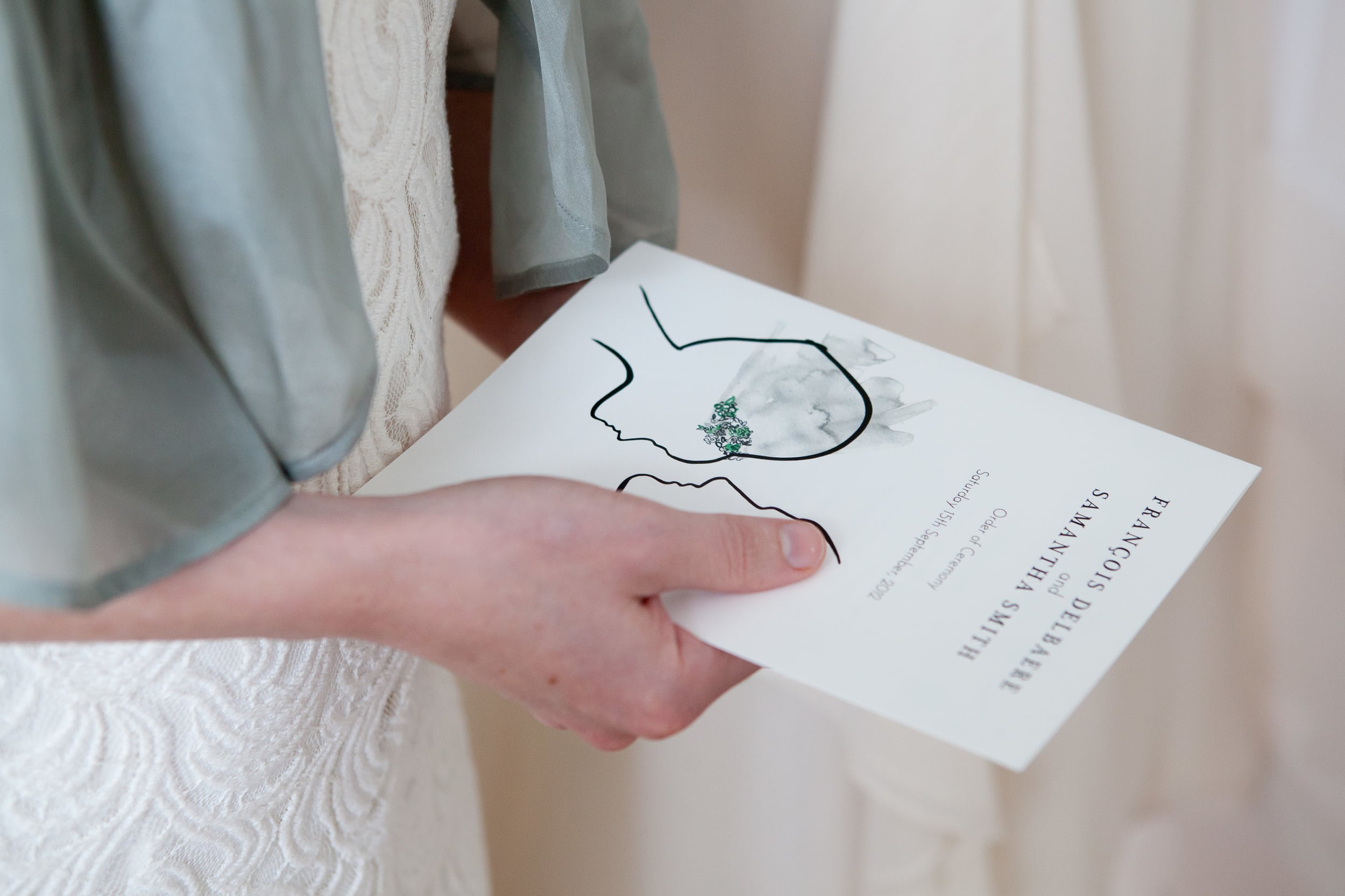Classic 1950s  Order of Ceremony programme.Photograph by  Sarah Lauren Photography