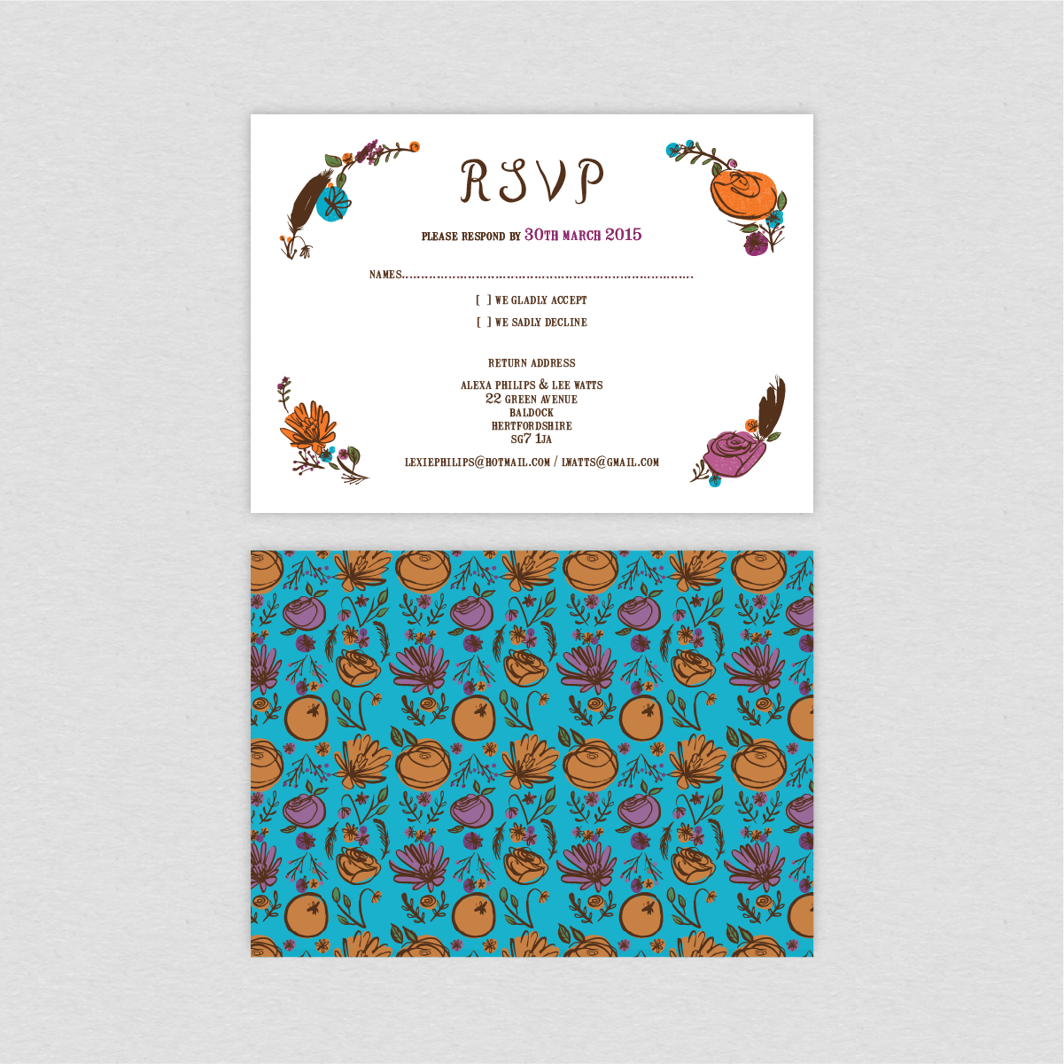 Dearly Beloved Flora and Fauna Wedding RSVP card