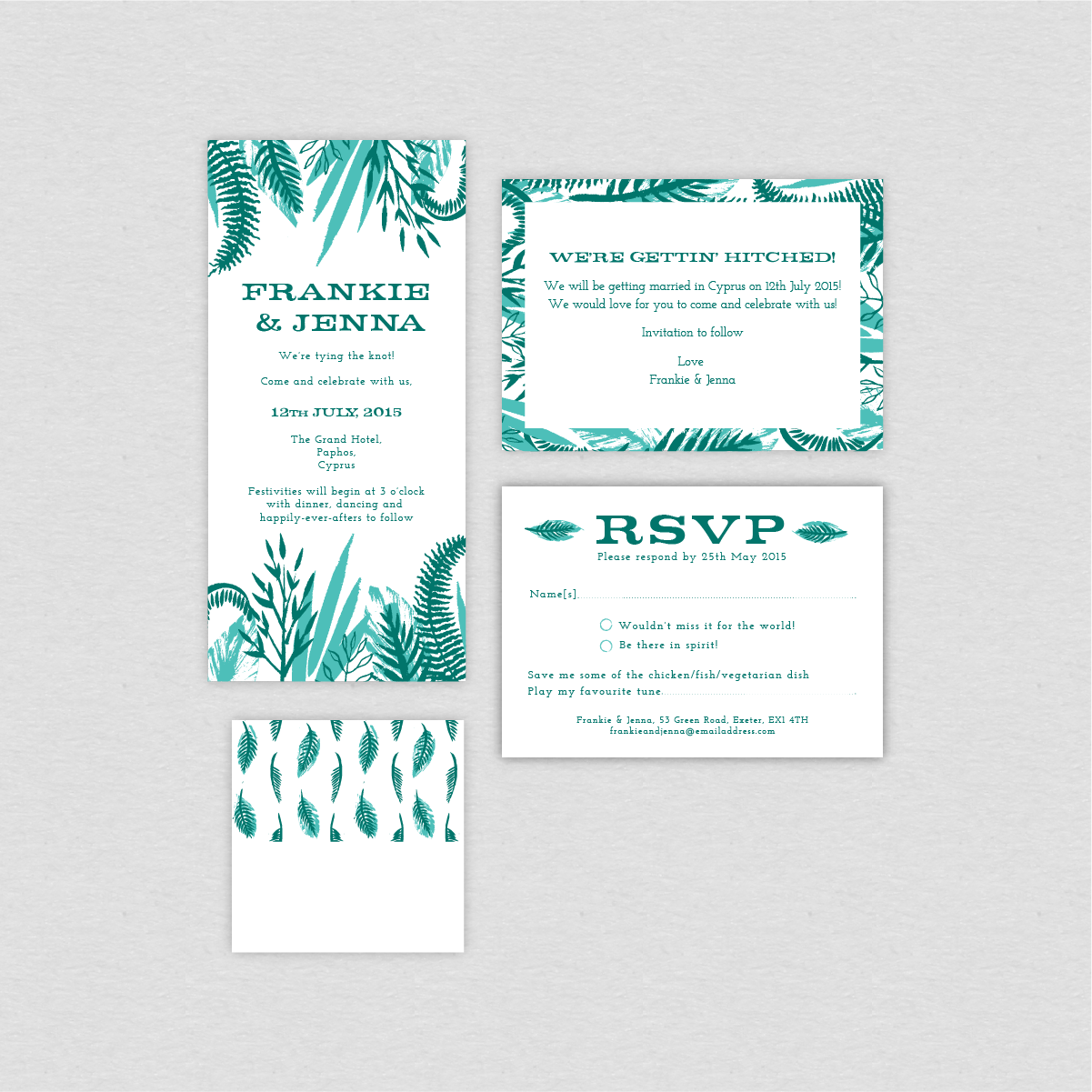 Dearly Beloved Tropical Wedding Stationery Collection
