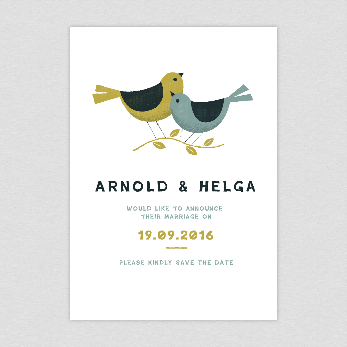 Dearly Beloved Birds Wedding Save the Date cards