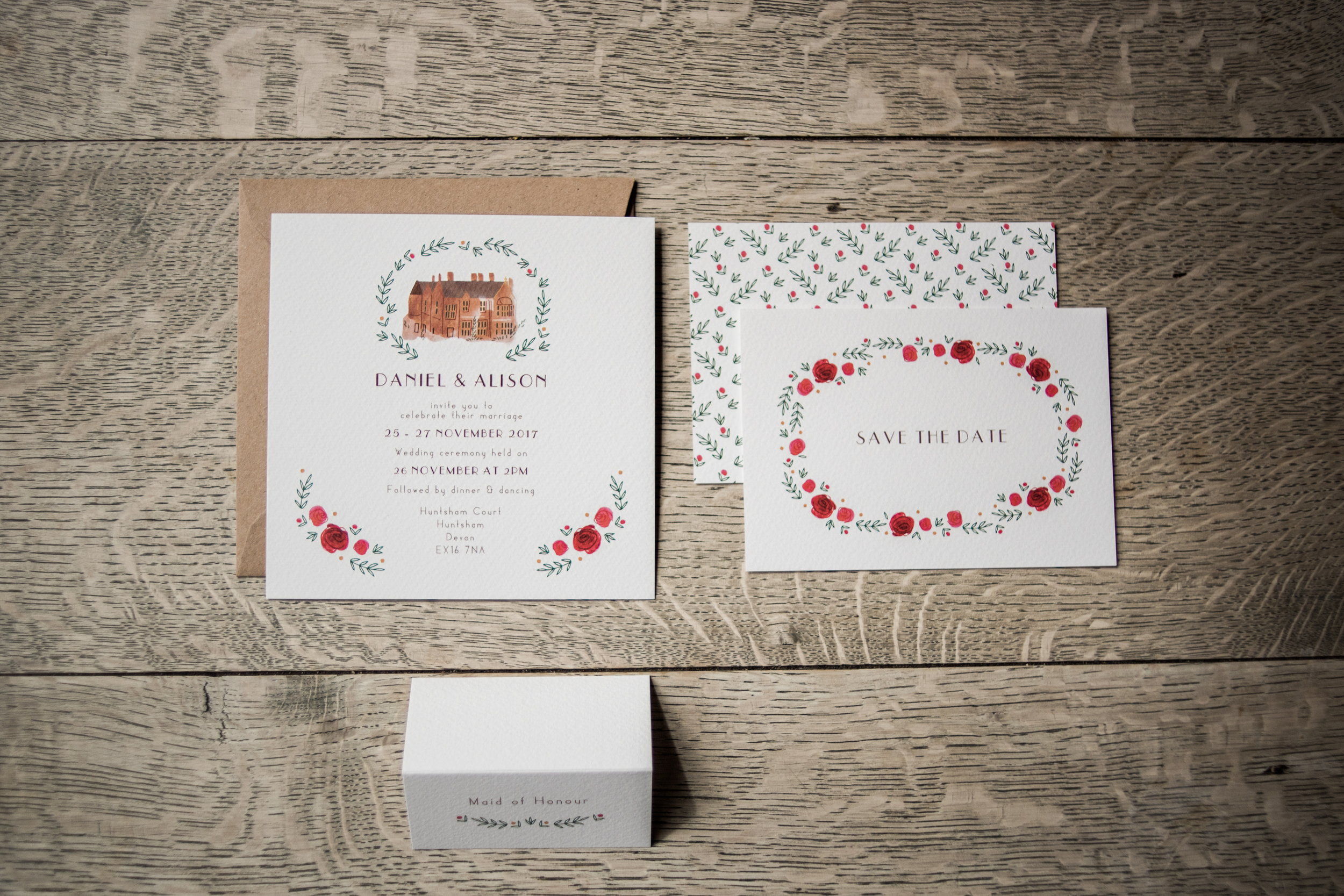 Country Love Wedding Invitation featuring watercolour florals and hand painted illustration of  Huntsham Court Country House.  Photo by  Liberty Pearl Photography