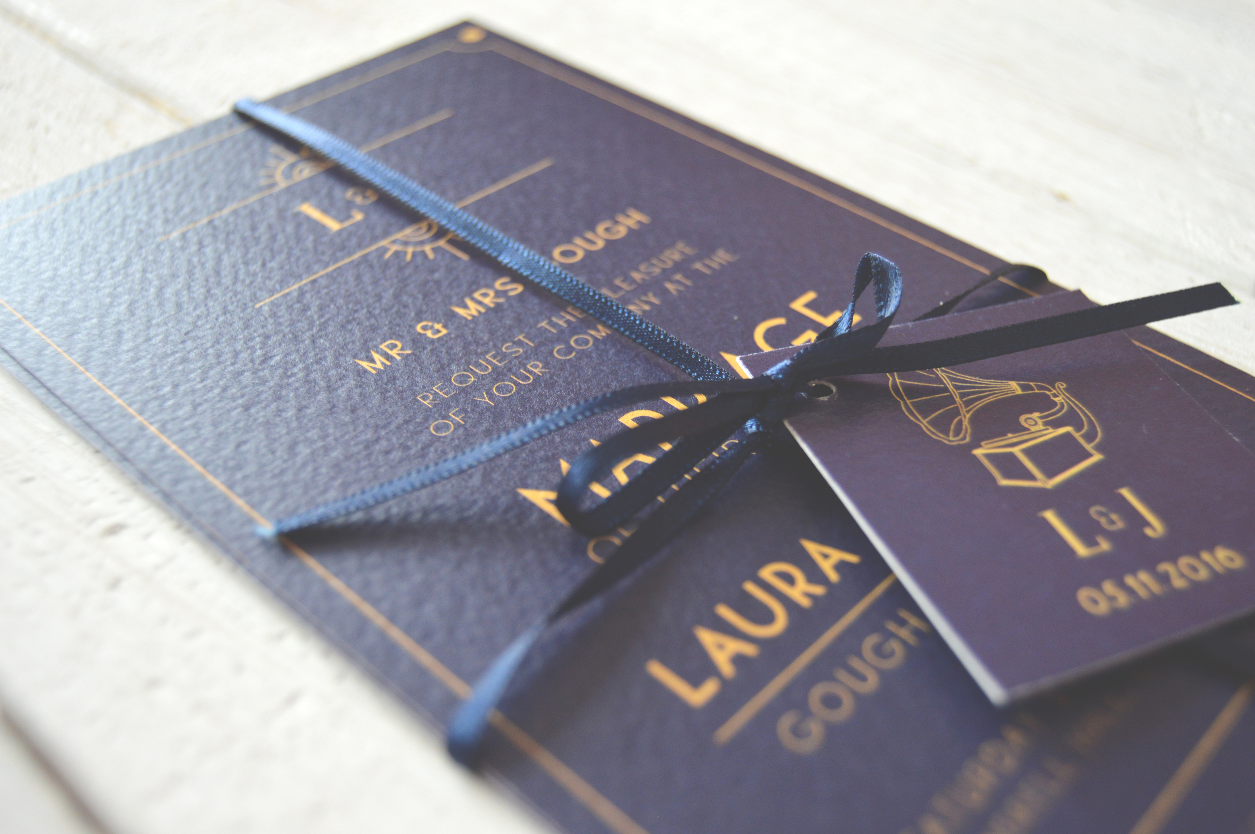 Bespoke wedding stationery for Laura and James' Great Gatsby style wedding