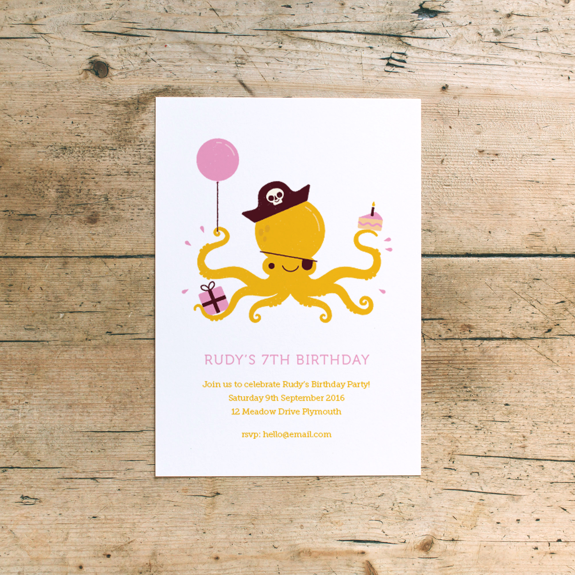 dearly beloved pirate kids birthday party invites pink