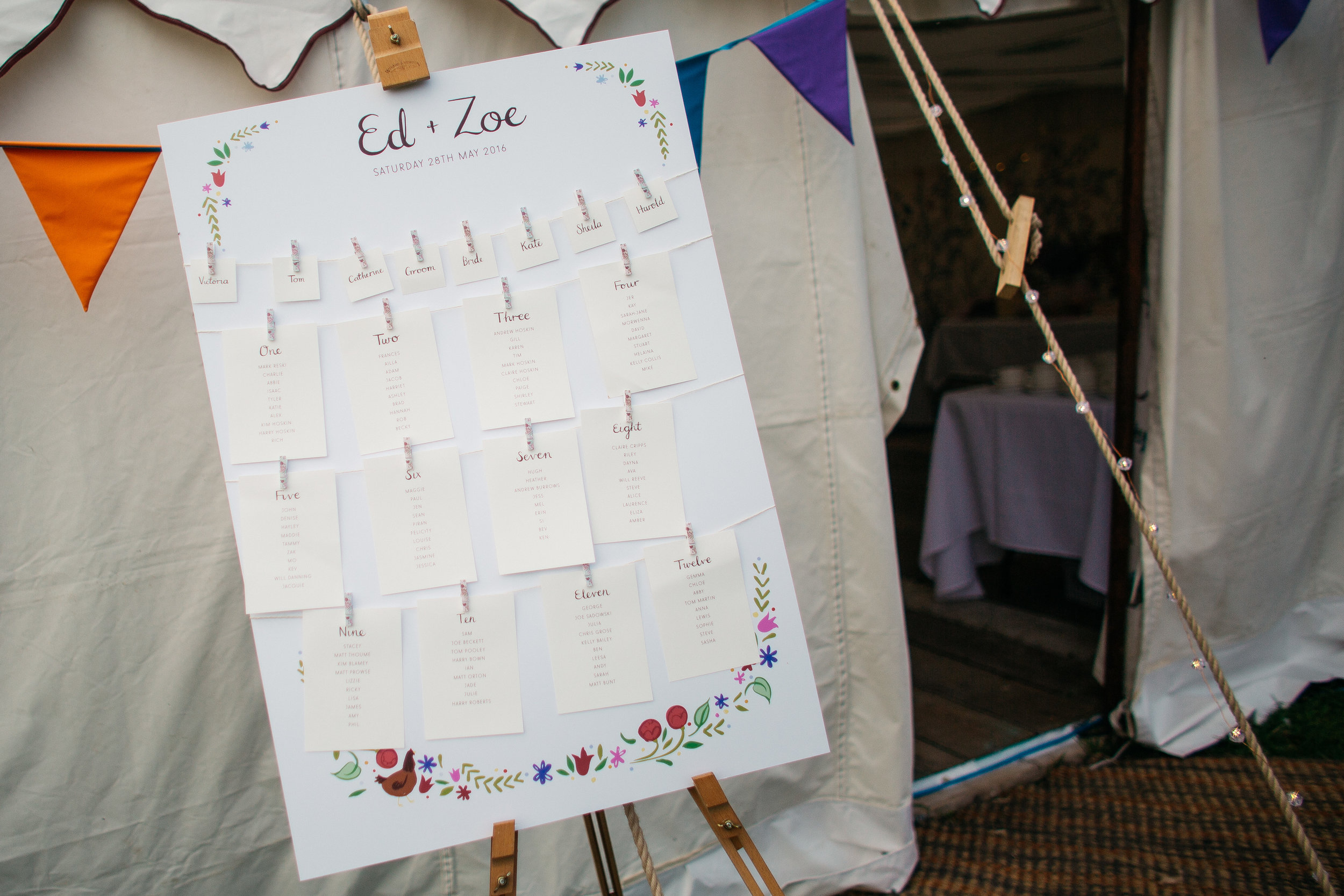 Washing line table plans are such a great idea, with each table being printed on a separate sheet you are able to add in any last minute guests without the cost of reprinting the entire plan - perfect for those late RSVPs :)