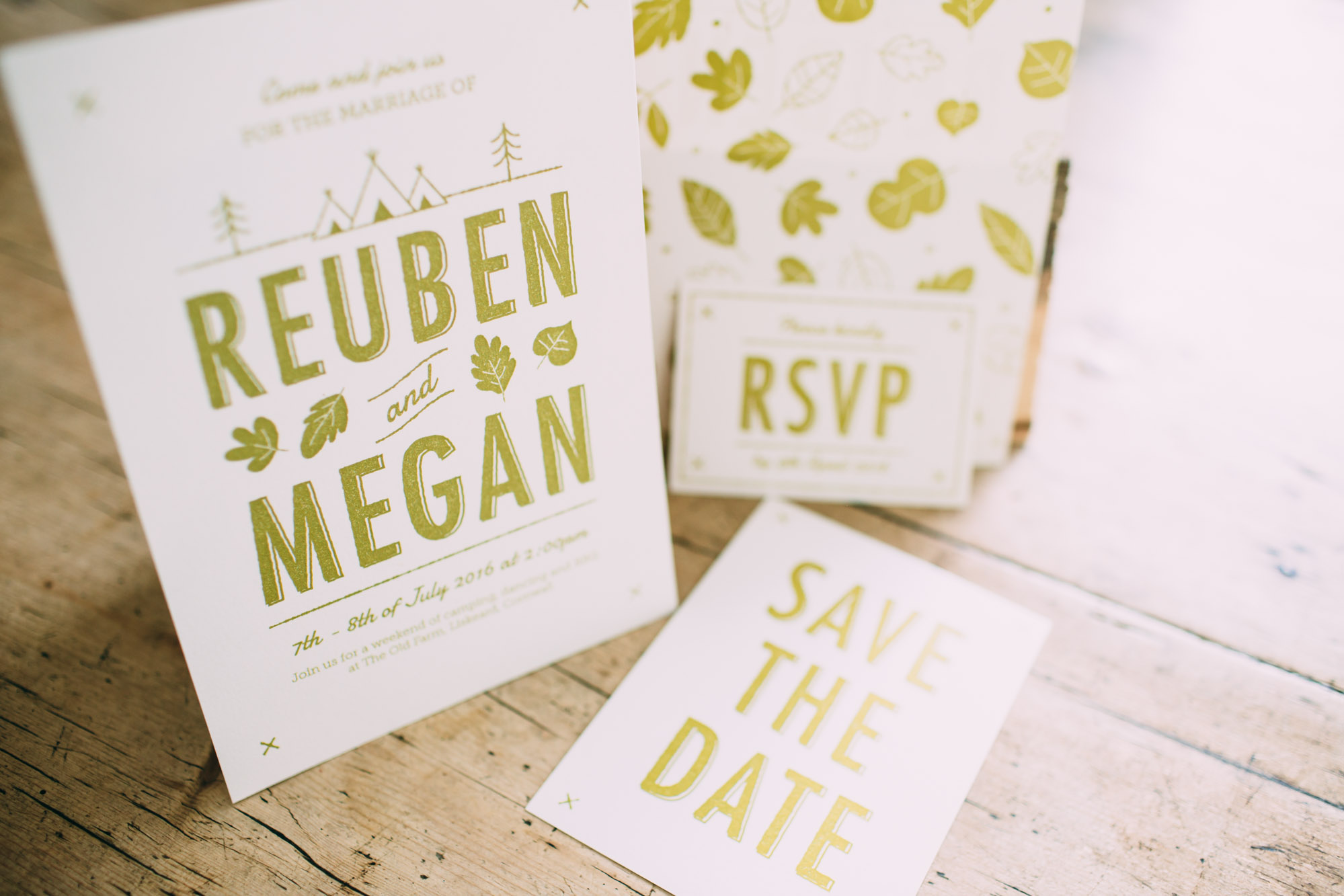 Summer Camp wedding stationery collection available from here  - Photo by  Freckle Photography