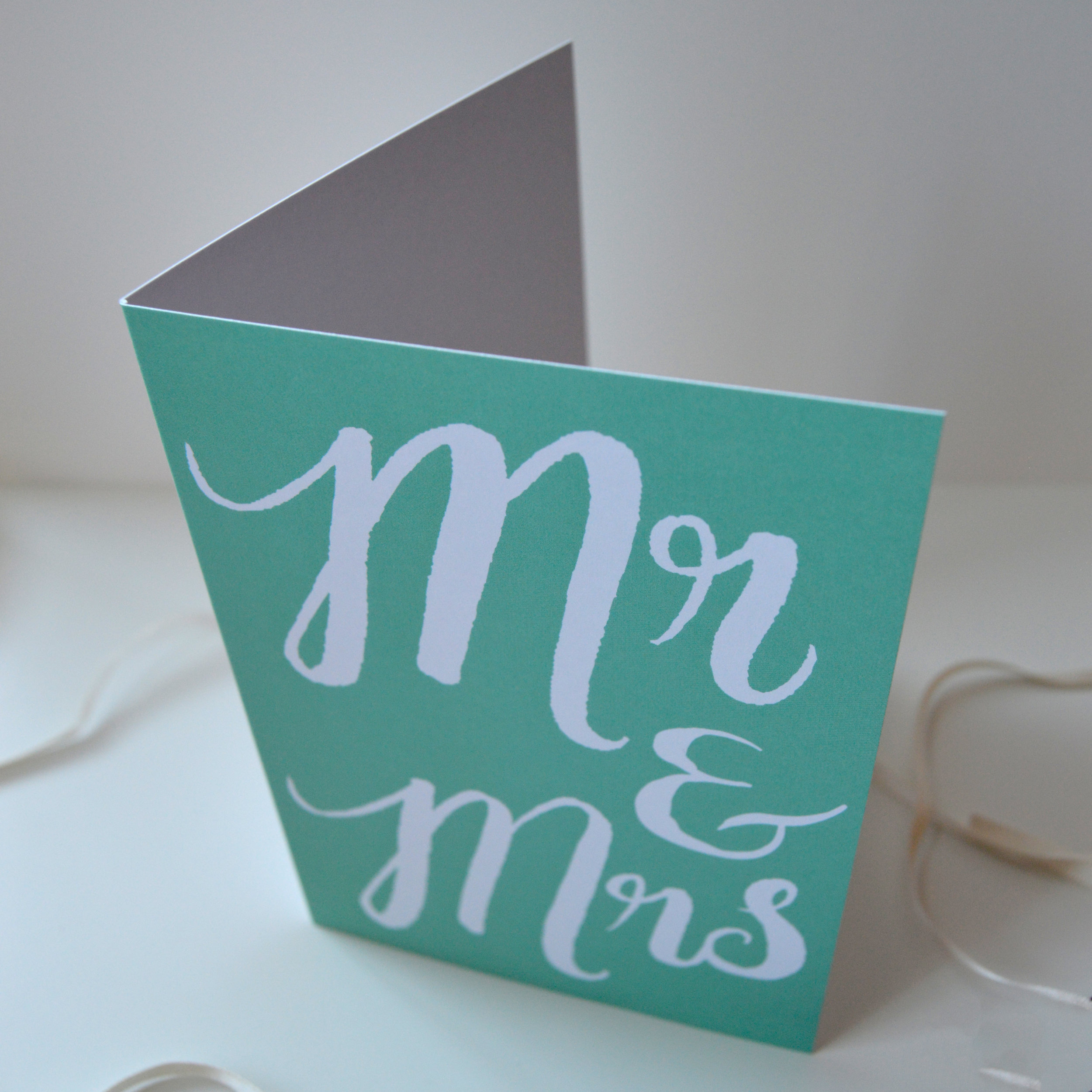 Mr & Mrs wedding card , blank inside for your own special message. Celebrate in style with this illustrated greetings card! Perfect for occasions such as weddings, anniversaries and engagements!
