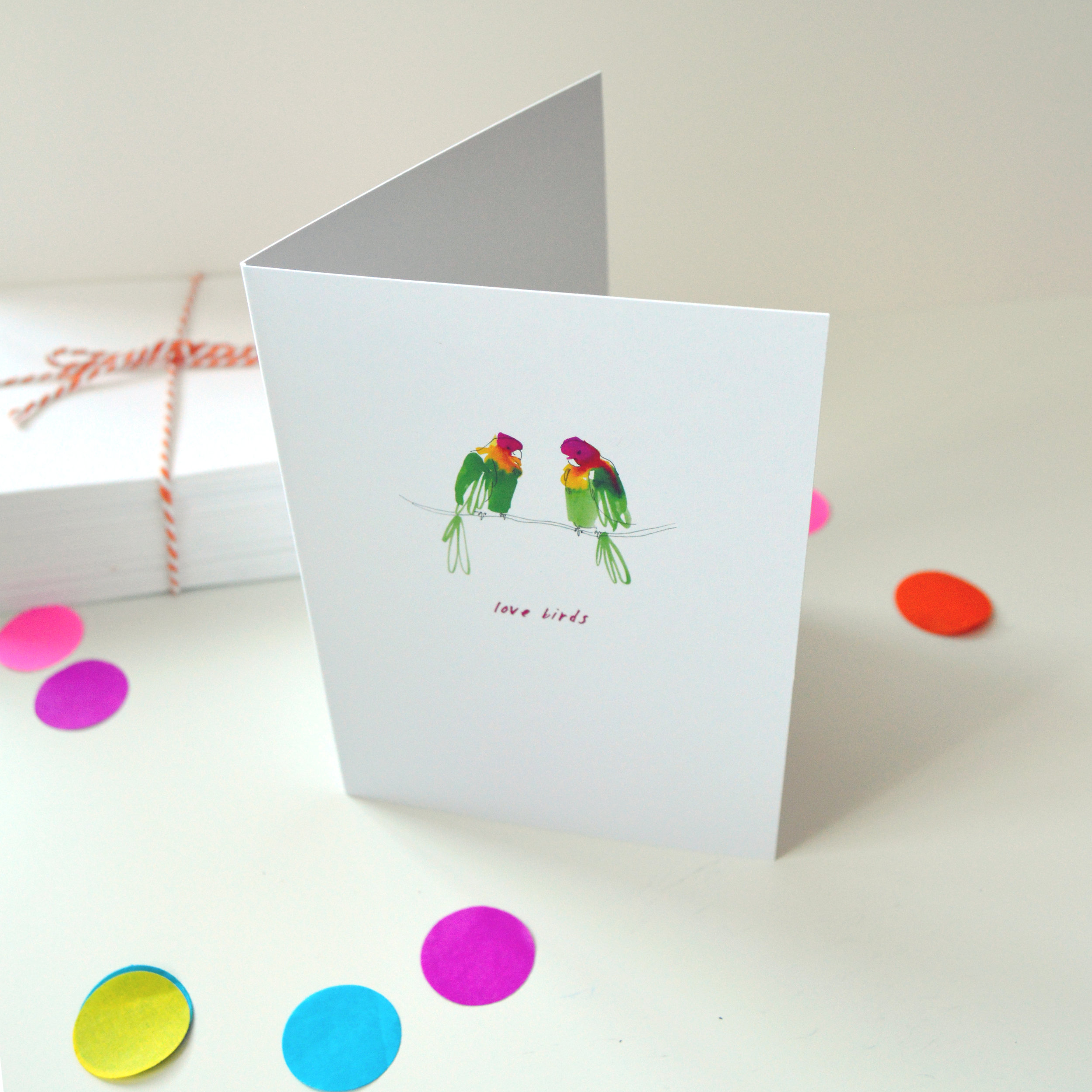 'Lovebirds' painted Valentine's Day  greetings card created from quirky illustrated colourful bird friends.