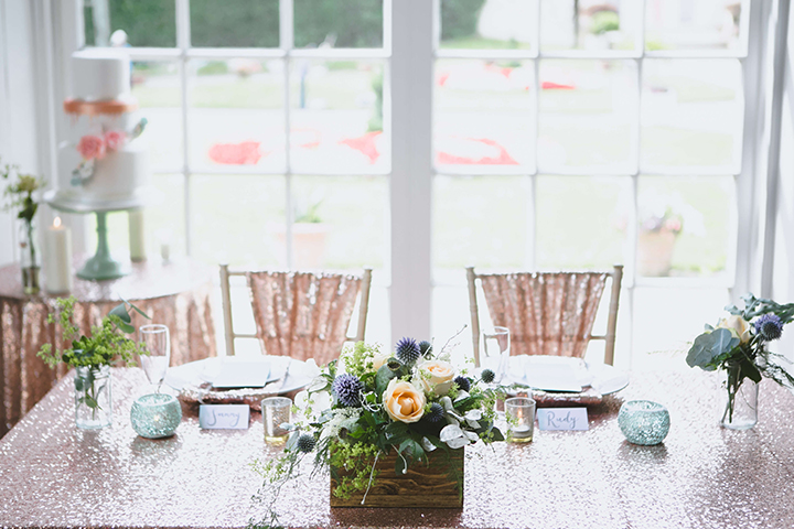 Sequin tablecloths and chair decorations from  The Pretty Accessory  added the finishing touch to the tablescape