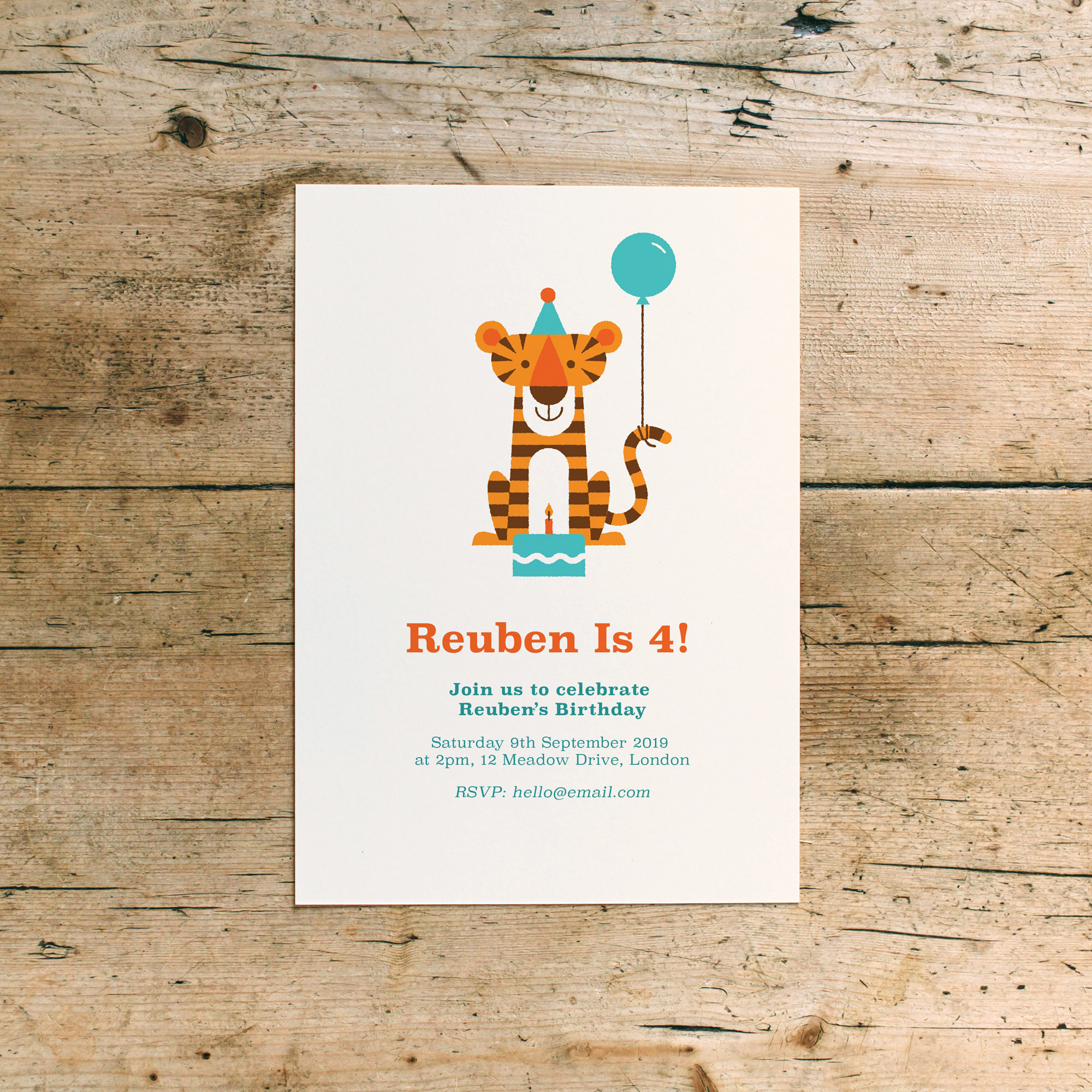 Tiger Tea Party Children's Birthday Invitations