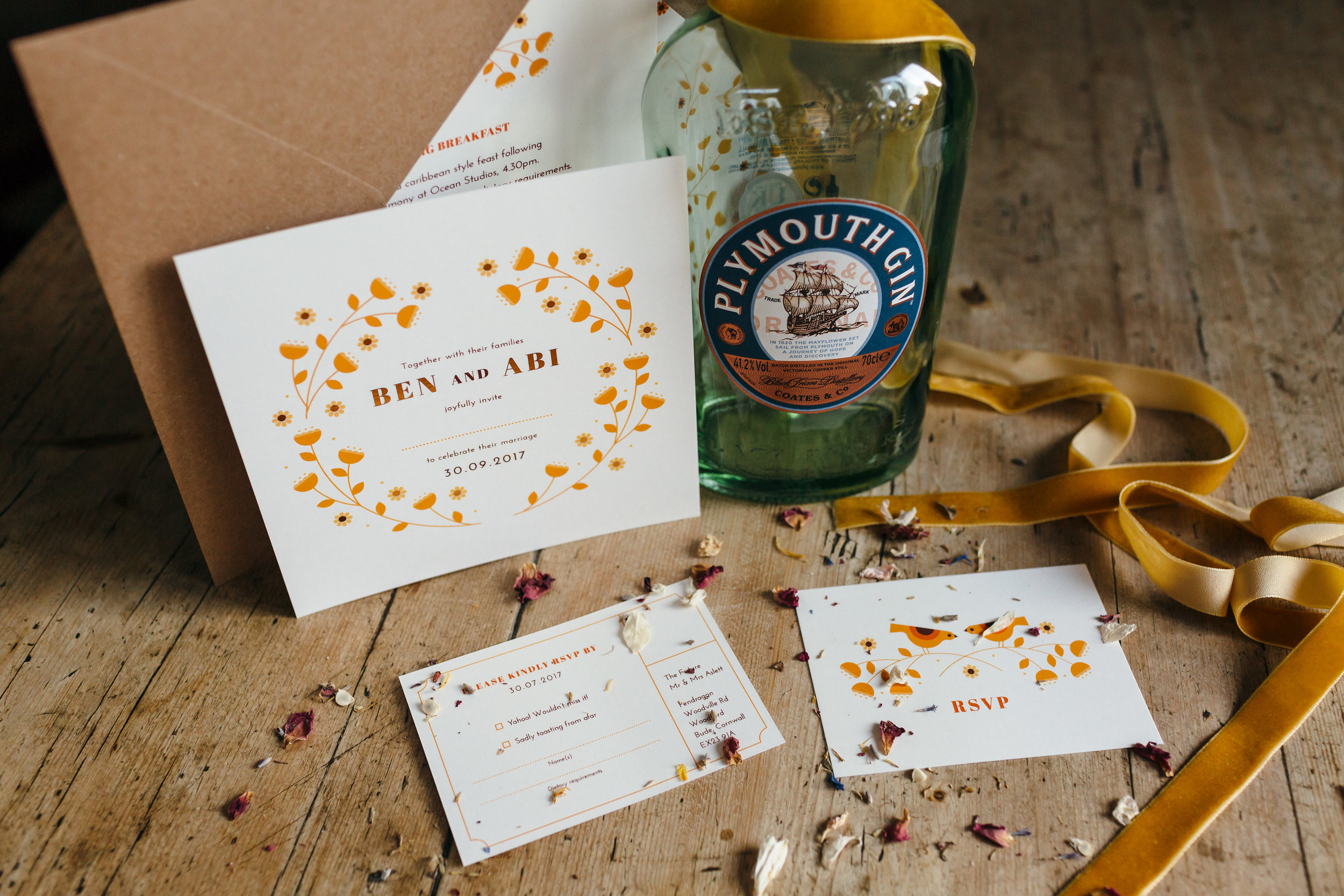 dearly beloved abi & ben mid century bird wedding stationery
