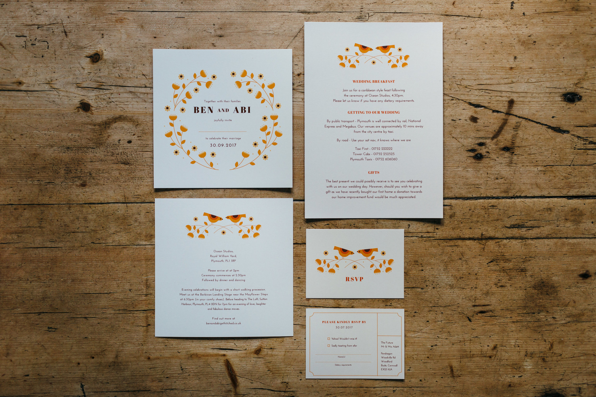 Our wedding invitations featured copper foiled invitations, an information card with more details about the day and a small RSVP card.