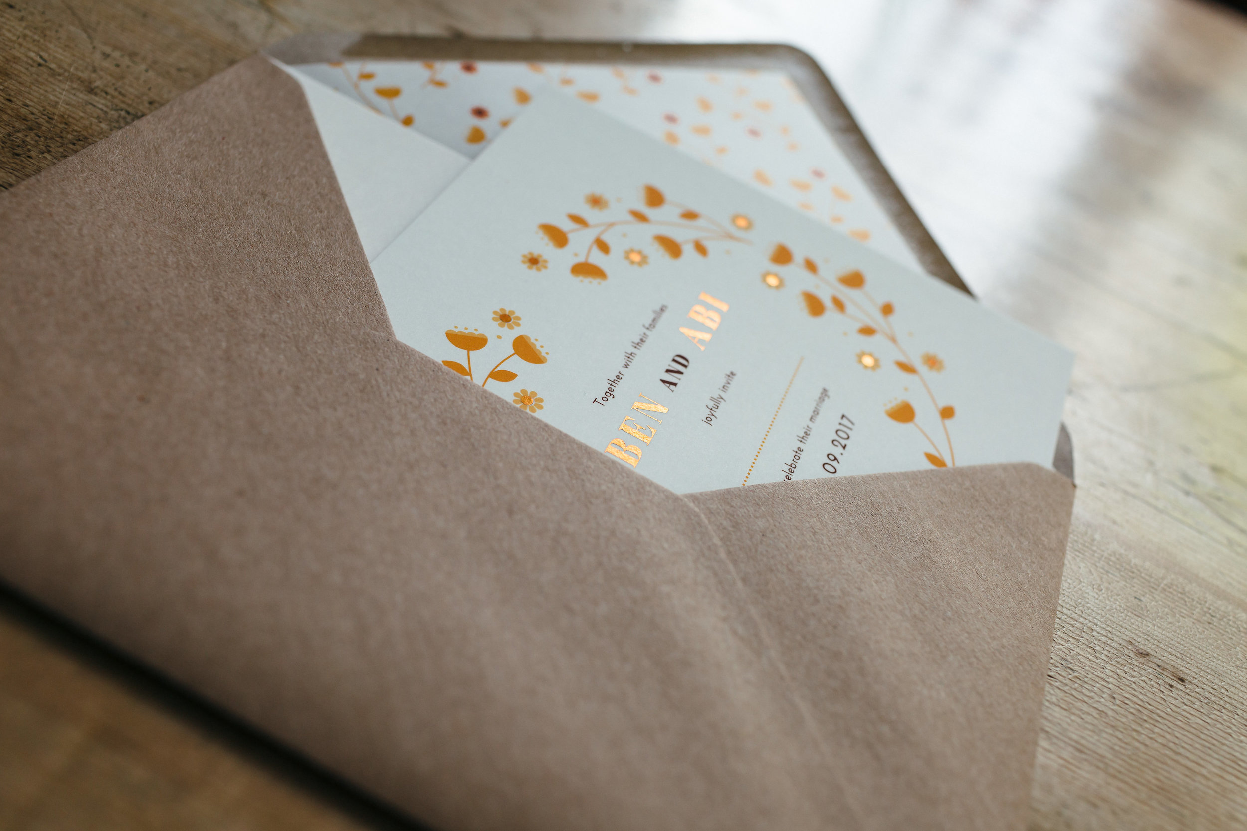 As an extra special touch we included envelope liners featuring Ben's retro floral pattern.