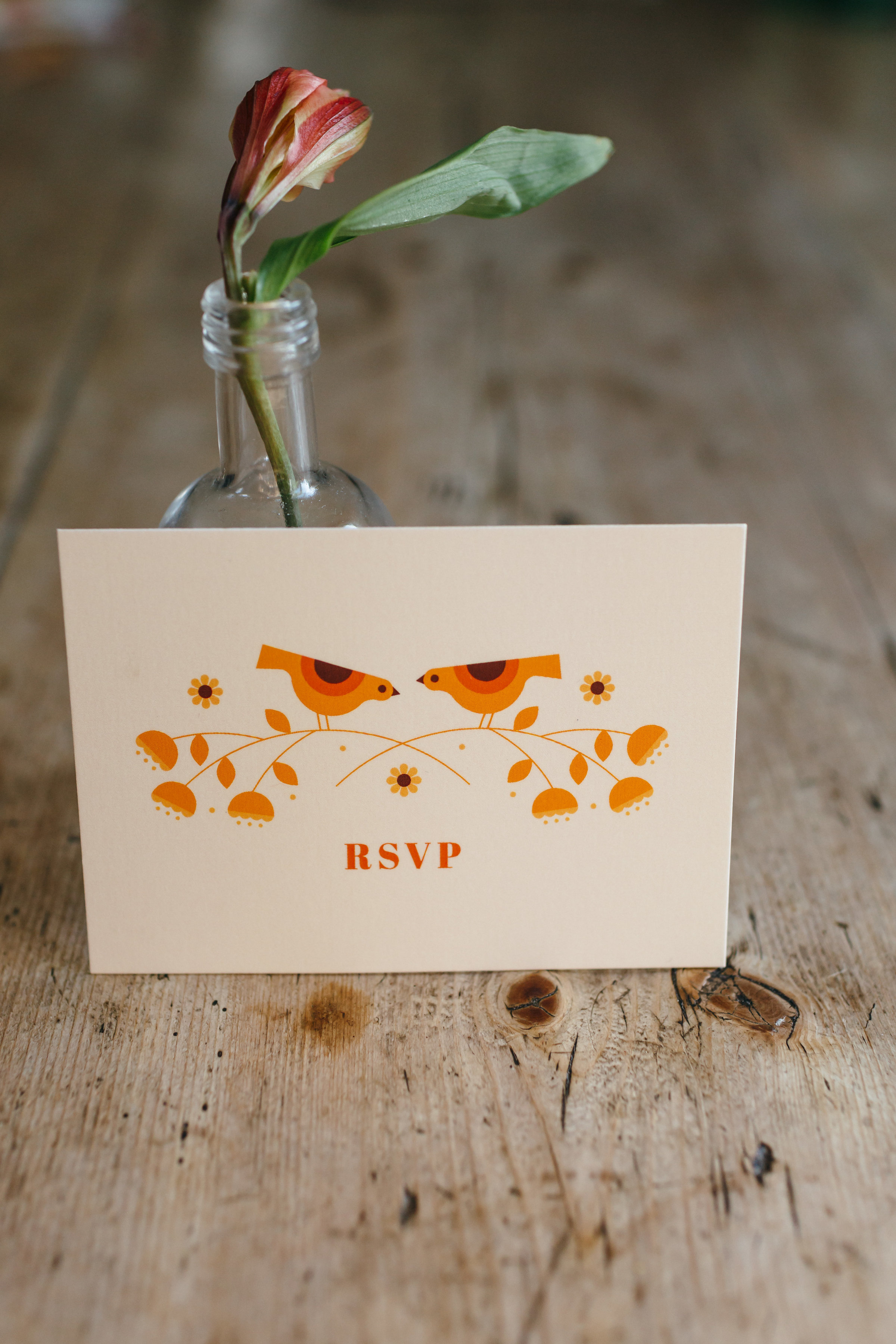 dearly beloved abi and ben wedding mid century bird illustration rsvp