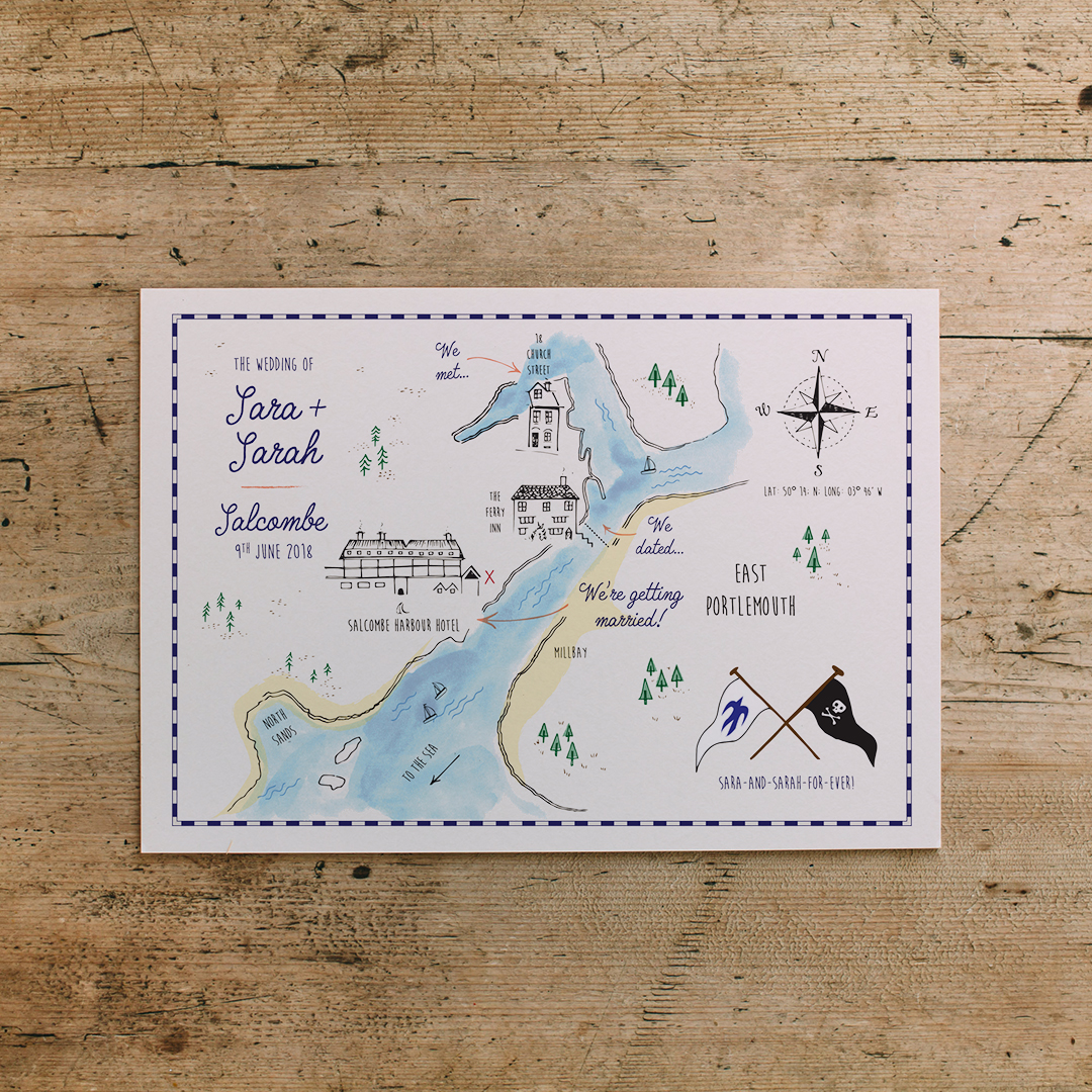 We created this vintage map style invitation postcard. See more  here ...