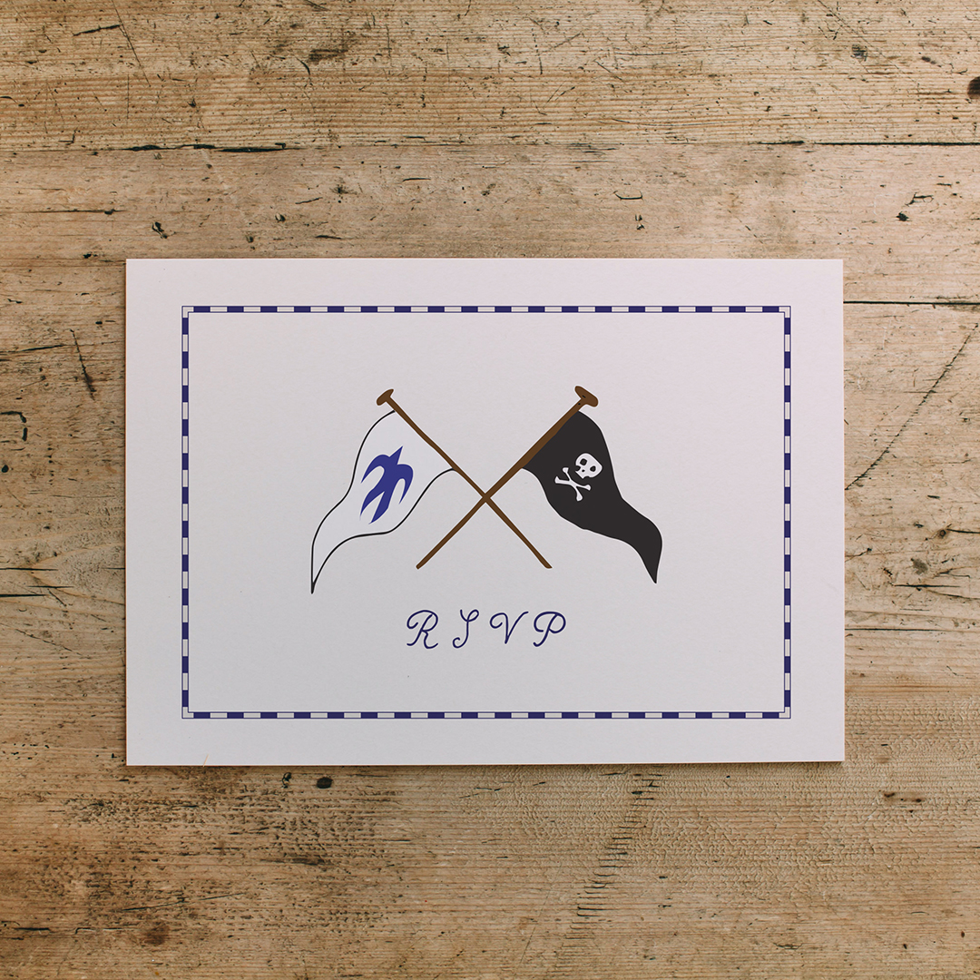 ... and the matching RSVP cards featured a homage to the Swallows and Amazons flags