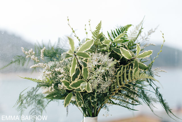 Fern filled botanical florals were cerated by  Holly Bee Flowers