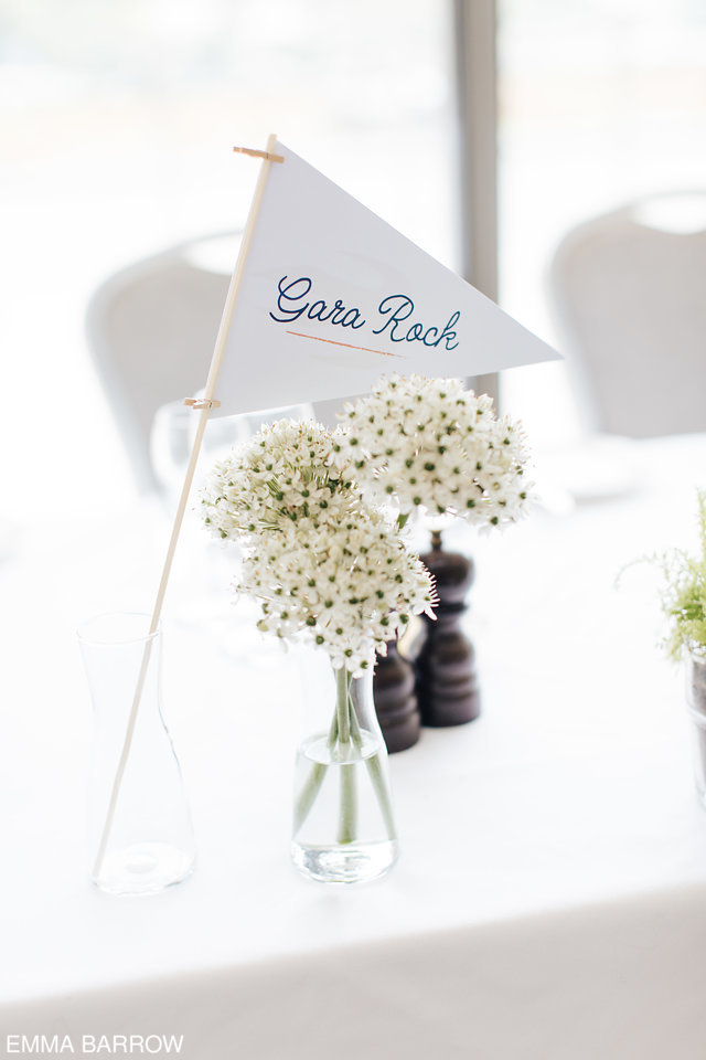 We designed pennant style table names, white for the Swallows and black for the Amazons in keeping with the wedding invitation illustration.