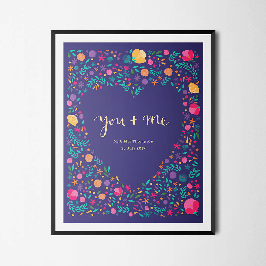 'You And Me' Personalised Flower Print Wedding Gift  - £25, available from  notonthehighstreet.com  Product code: 616215