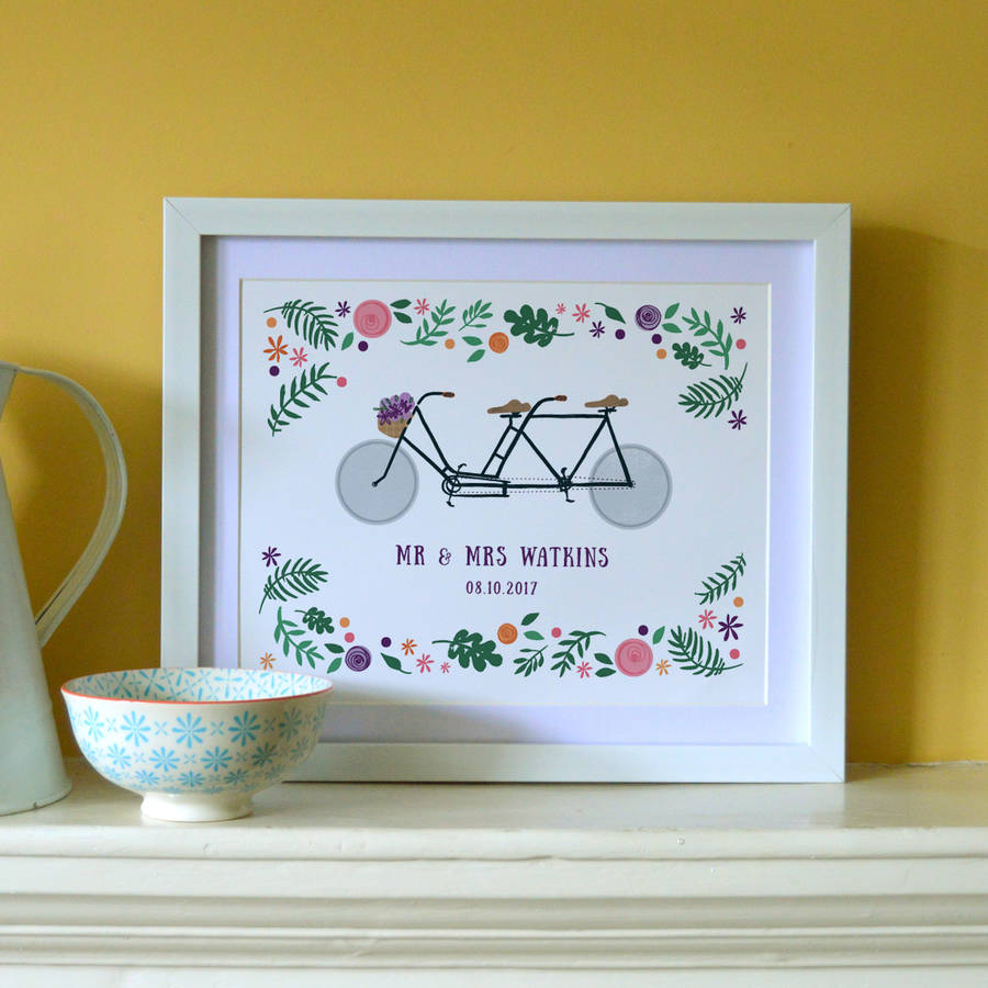 'Tandem Bike Lovers' Personalised Illustrated Print  - £25, available on  notonthehighstreet.com  Product code: 617489