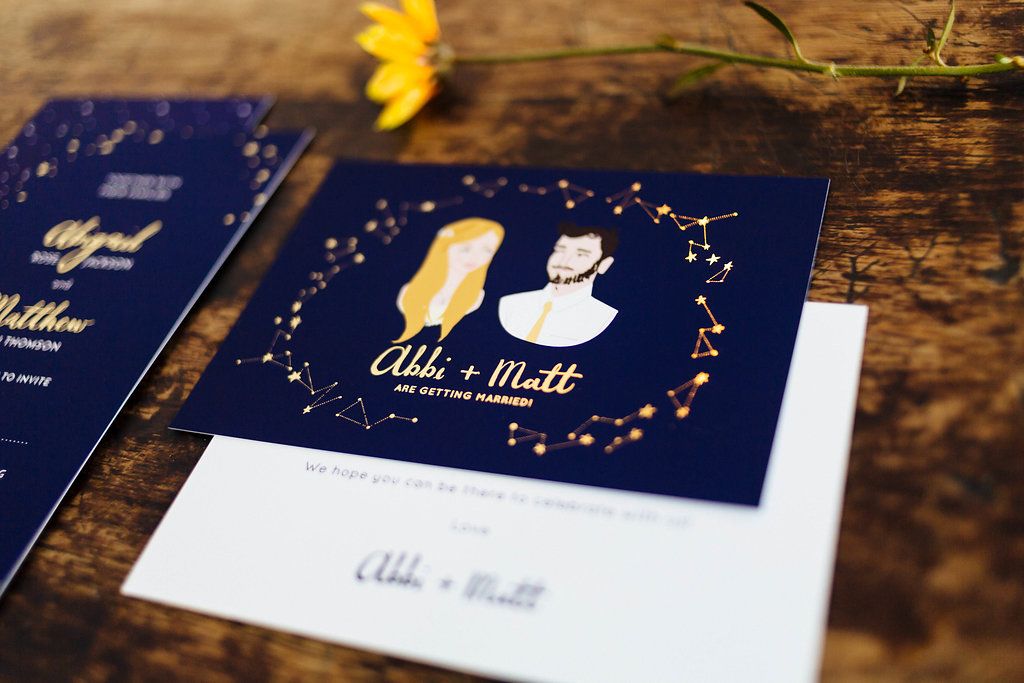 Photo by  Miss Imagination Photography.  Save the Date post card featuring portrait, hand lettering and gold foiling.