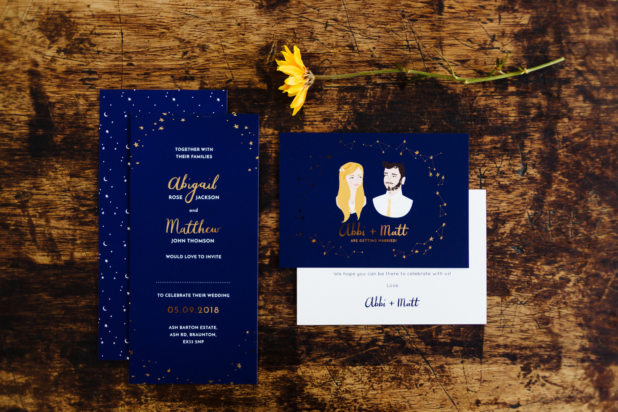 Photo by  Miss Imagination Photography.  Left - invitation, right Save the Date post card both featuring hand lettering and gold foiling.