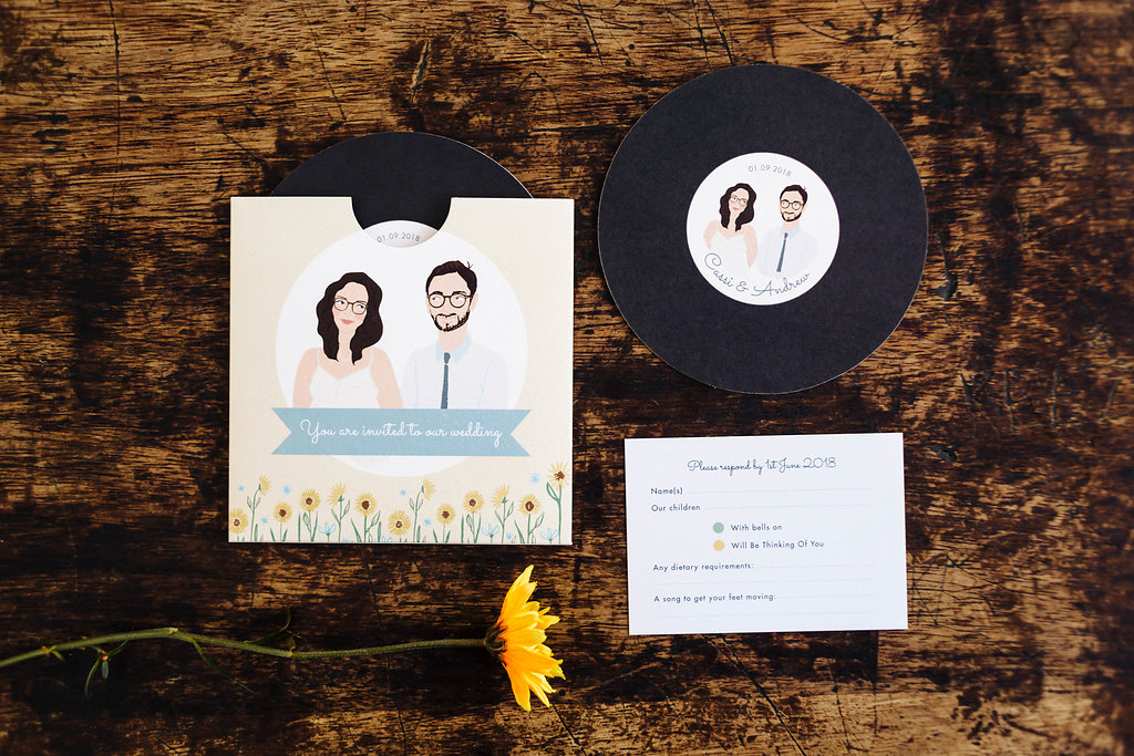 dearly beloved design record sleeve wedding invitation