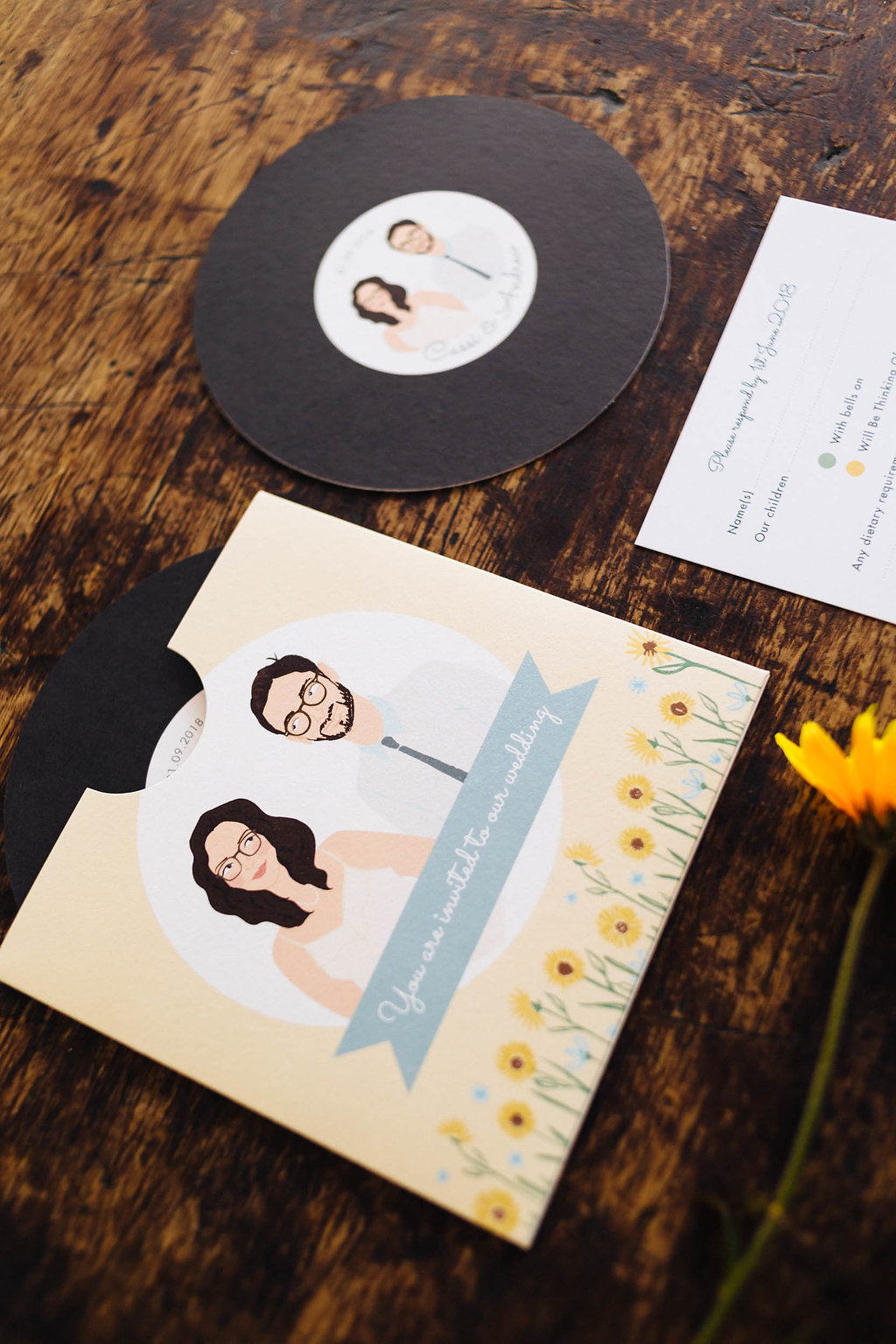 dearly beloved design sunflower music wedding invitation