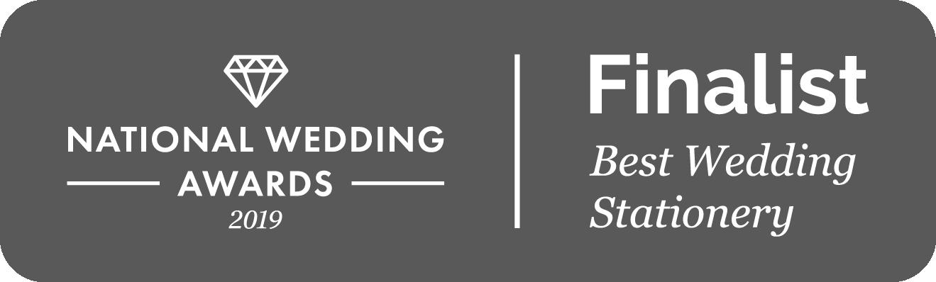 Best Wedding Stationery Finalist 2019, National Wedding Awards
